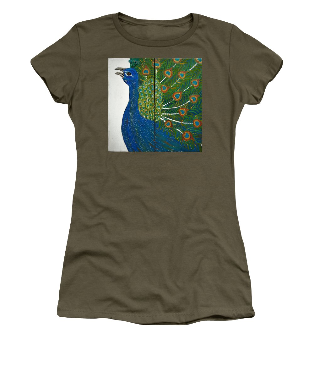 Peacock Women's T-Shirt featuring the painting Peacock Iv by Kruti Shah