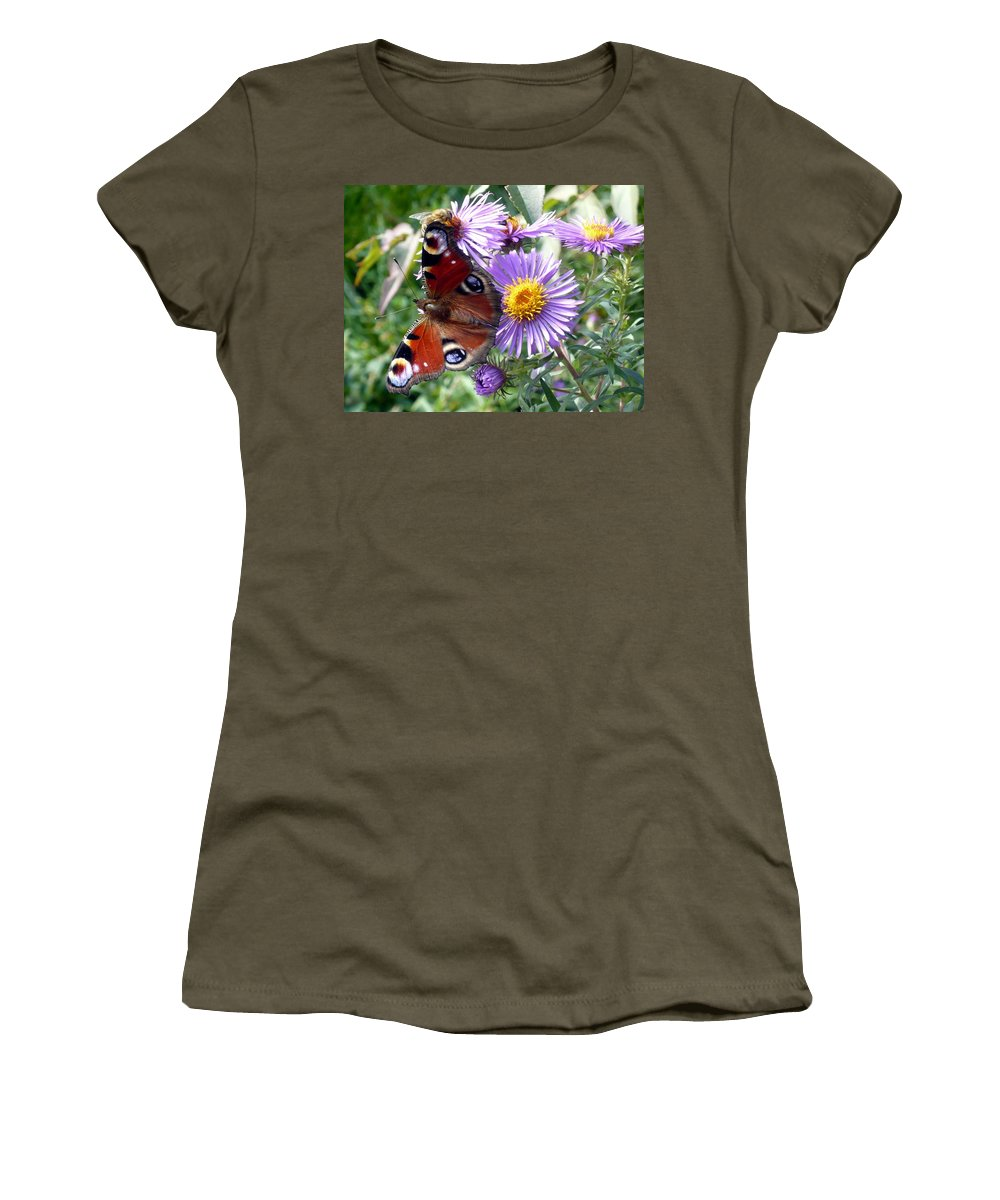 Peacock Women's T-Shirt featuring the photograph Peacock With Bee by Helmut Rottler
