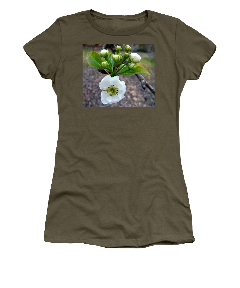Pear Tree Blossum Women's T-Shirt (Athletic Fit) featuring the photograph Pear Tree Blossom 3 by J M Farris Photography