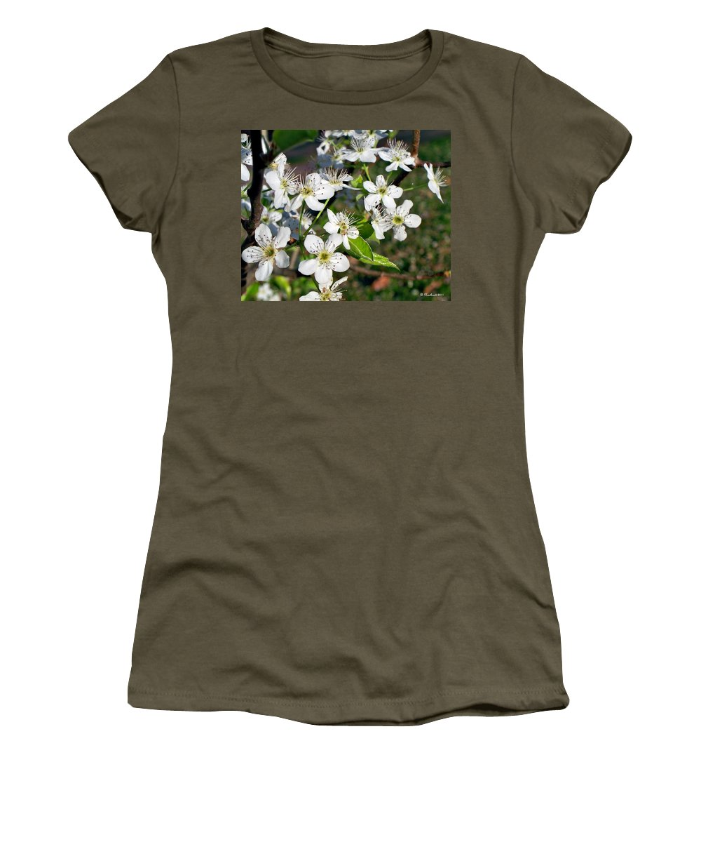 Pear Women's T-Shirt (Athletic Fit) featuring the photograph Pear Tree Blossoms Iv by Betty Northcutt