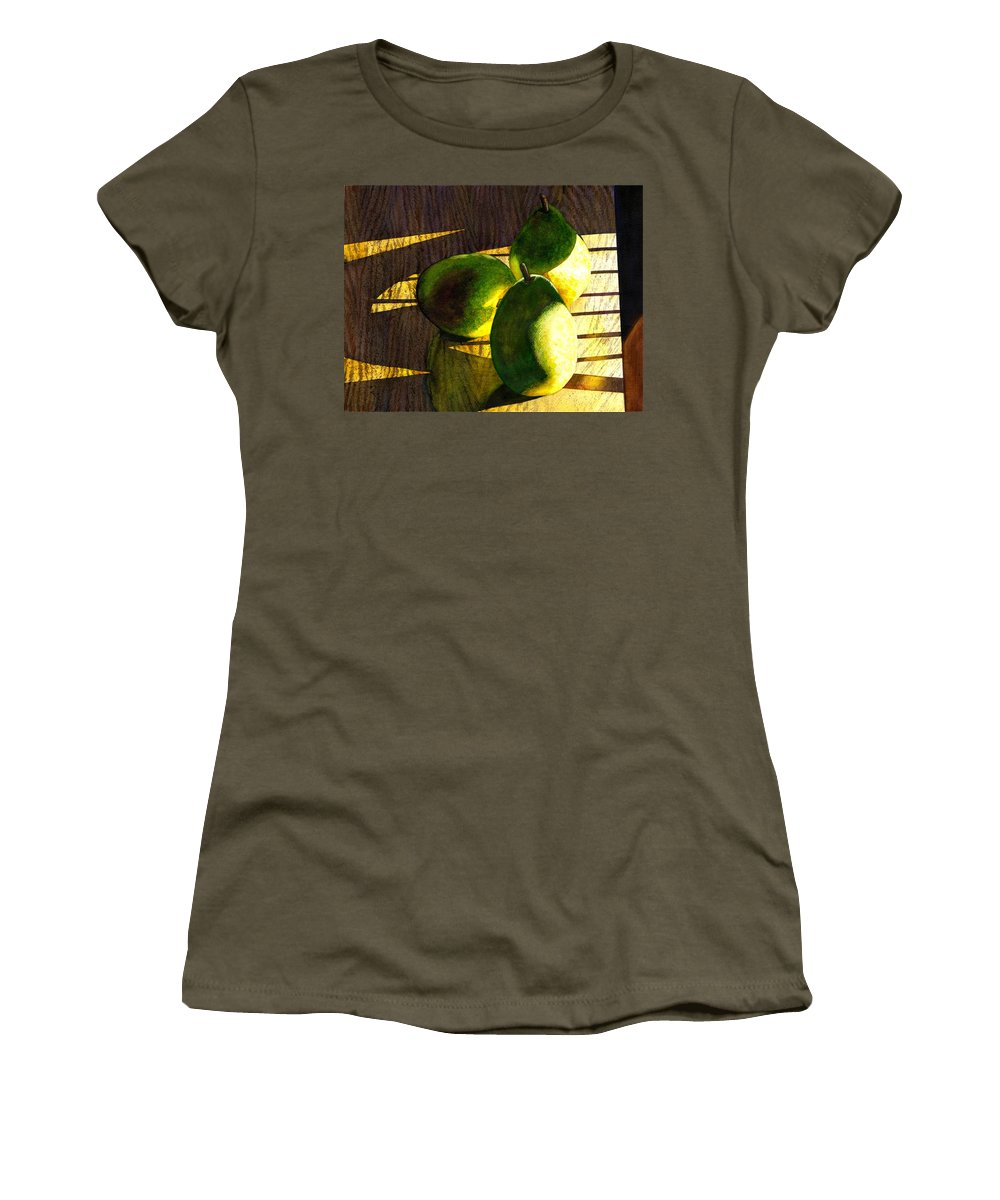 Pears Women's T-Shirt (Athletic Fit) featuring the painting Pears No 3 by Catherine G McElroy