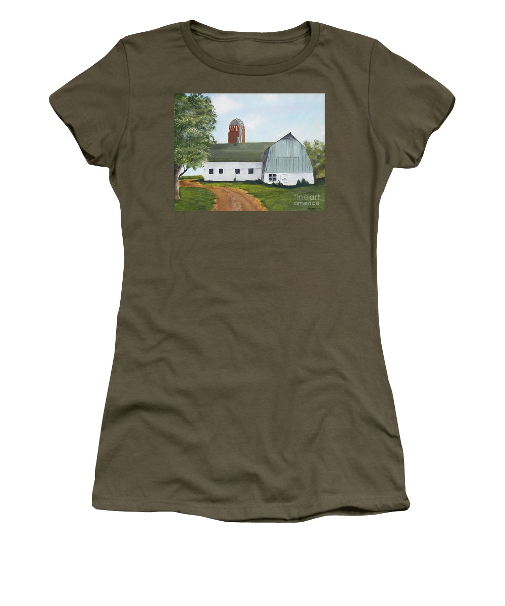 Barn Women's T-Shirt (Athletic Fit) featuring the painting Pedersen Barn by Mendy Pedersen