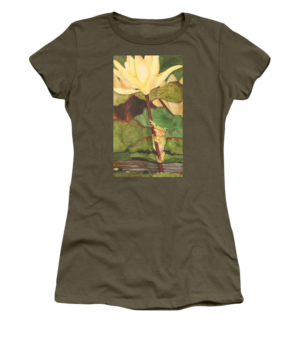 Frog Women's T-Shirt featuring the painting Peeping Tom by Jean Blackmer