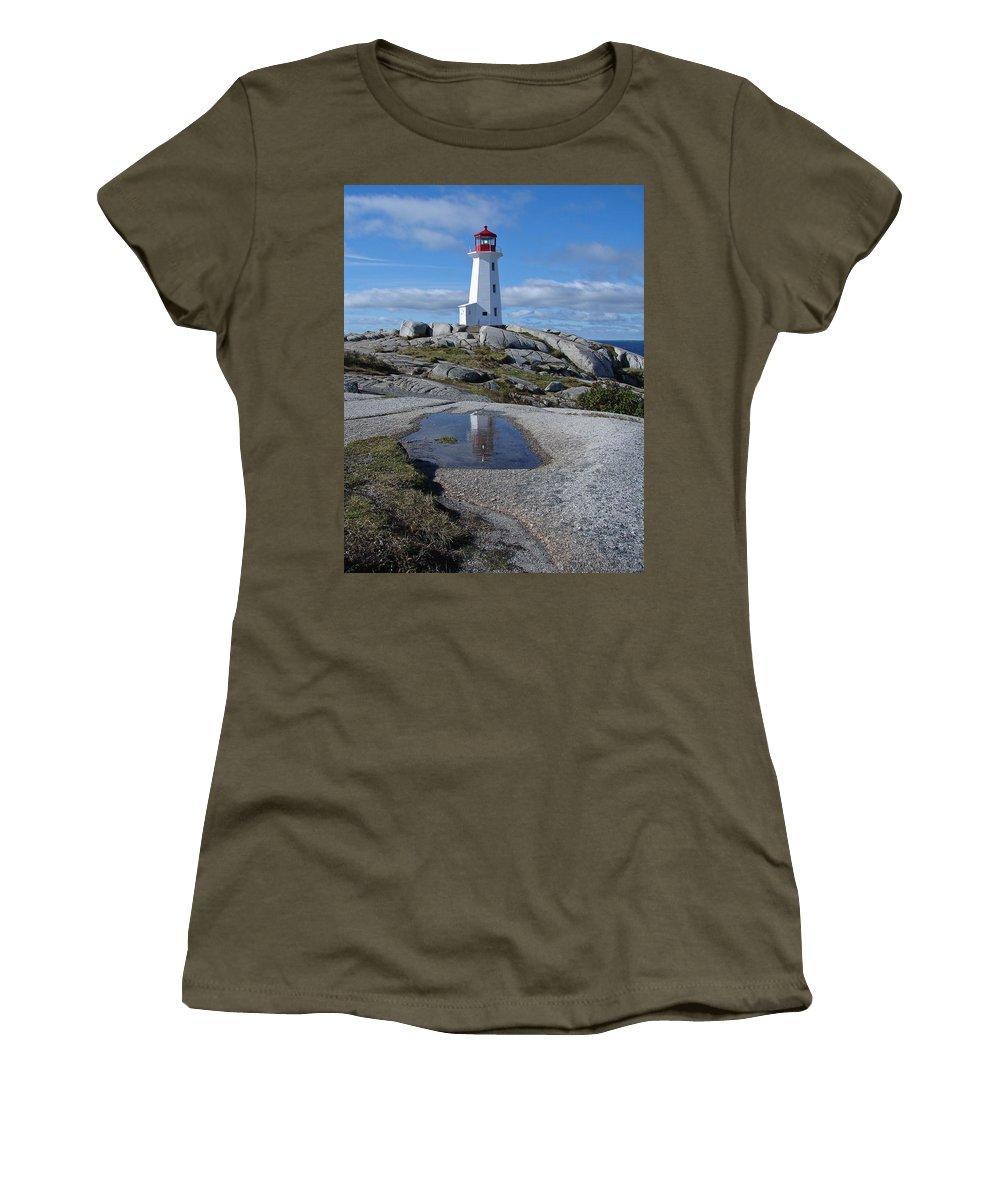 Seascape Women's T-Shirt featuring the photograph Peggys Cove Nova Scotia Canada by Heather Coen