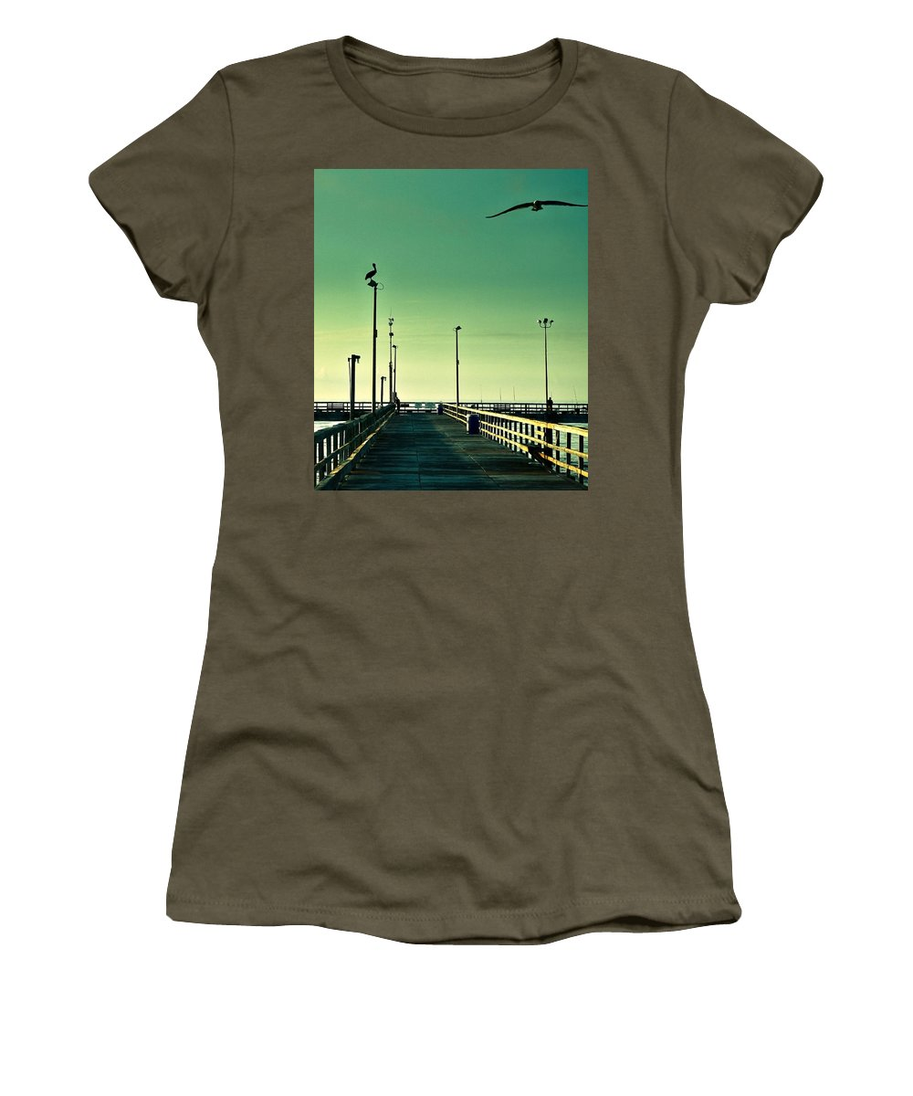 Americana Women's T-Shirt (Athletic Fit) featuring the photograph Pelican On Watch Duty by Marilyn Hunt