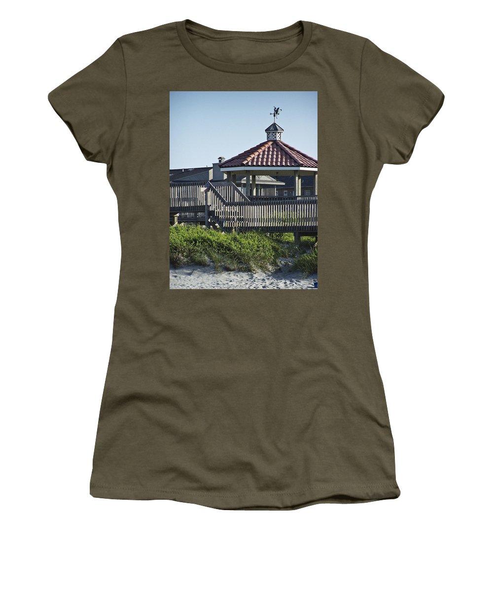 Pelican Women's T-Shirt featuring the photograph Pelican Weathervane Ocean Isle Norht Carolina by Teresa Mucha