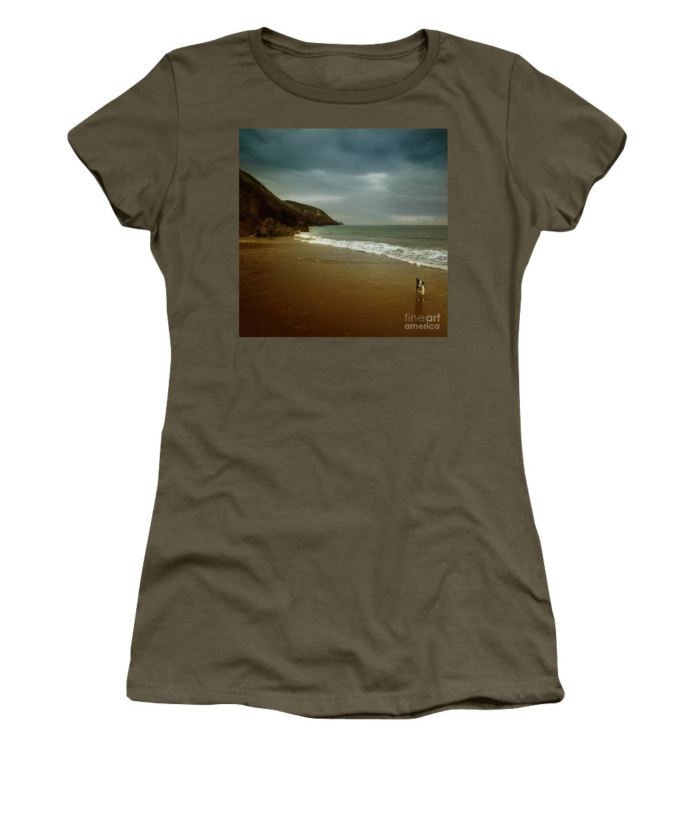 Beach Women's T-Shirt (Athletic Fit) featuring the photograph Pembrokeshire by Angel Ciesniarska