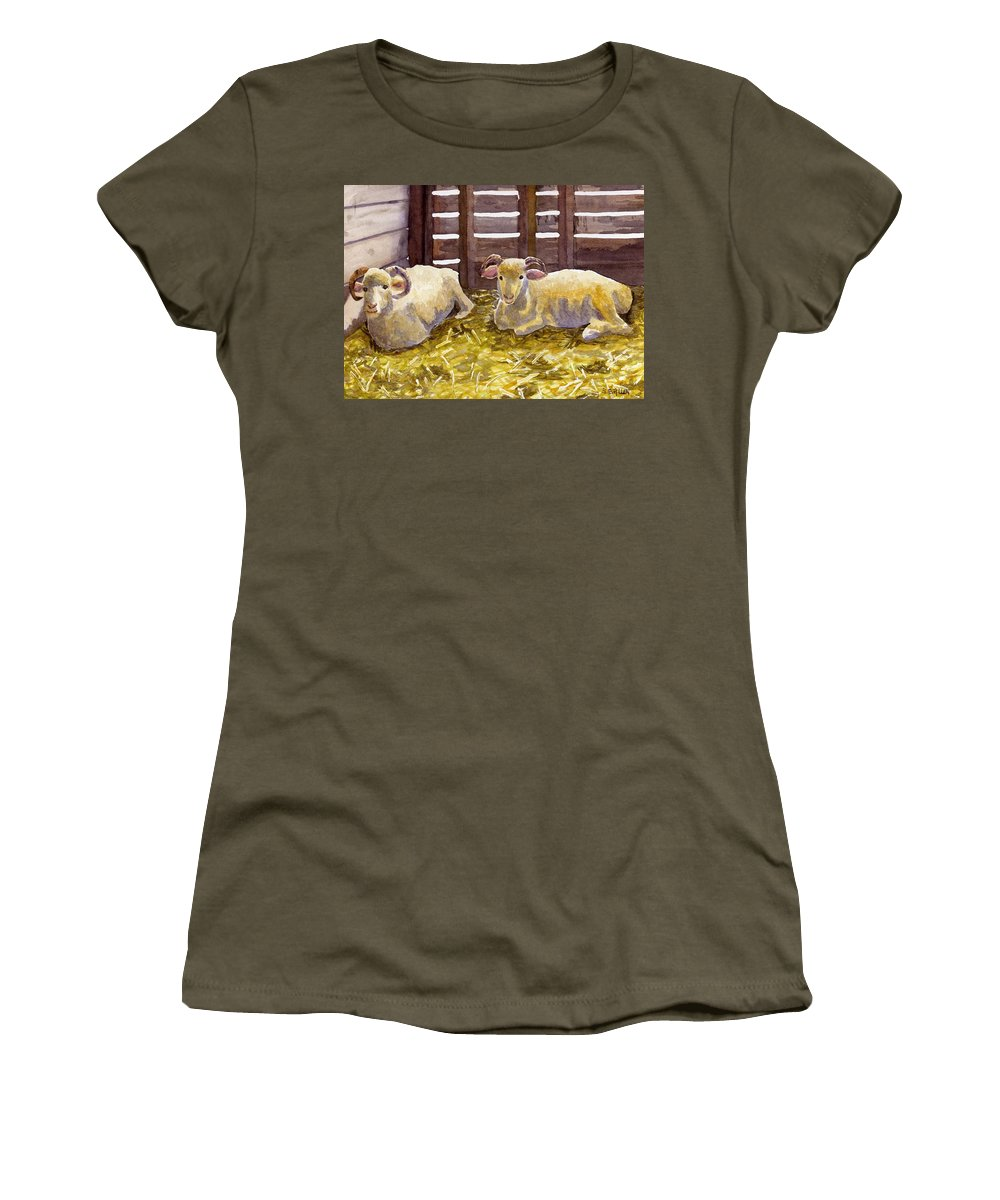 Sheep Women's T-Shirt (Athletic Fit) featuring the painting Pen Pals by Sharon E Allen