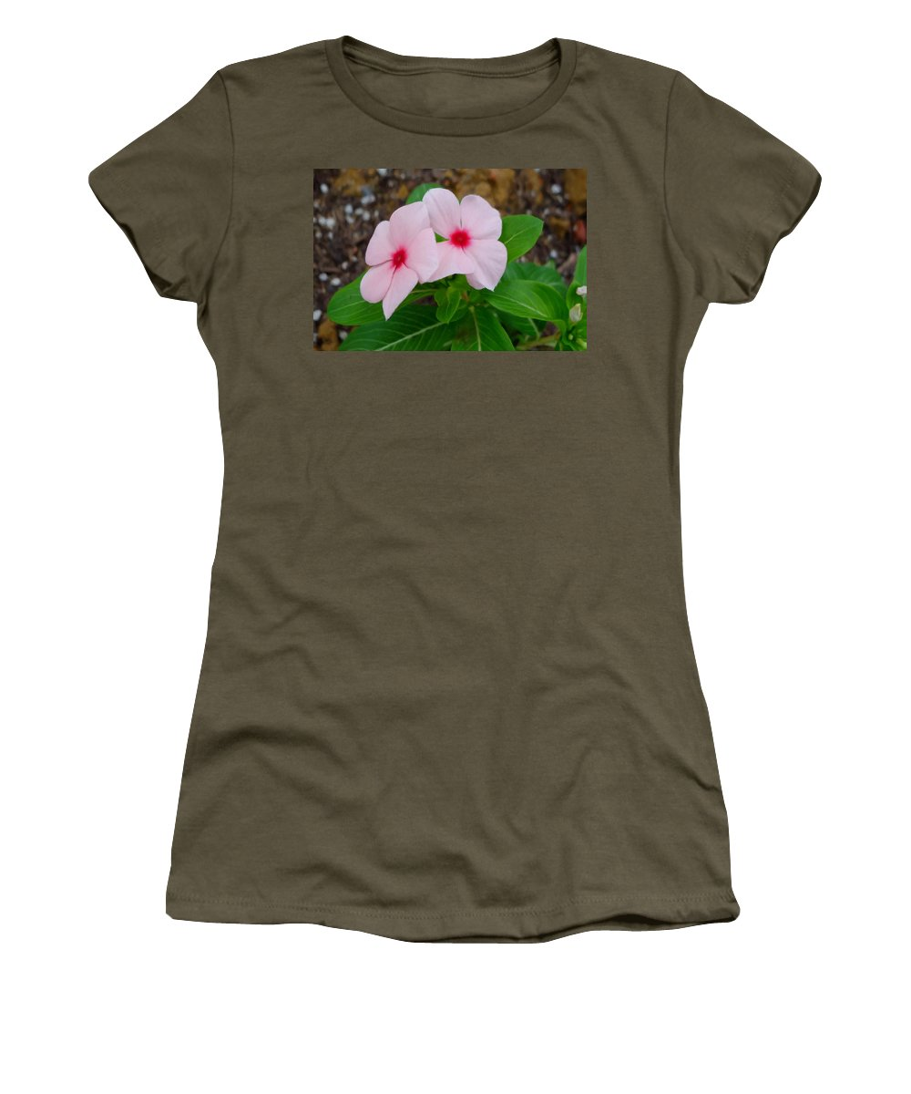 Periwinkle Flower Women's T-Shirt featuring the painting Periwinkle Flower 2 by Jeelan Clark