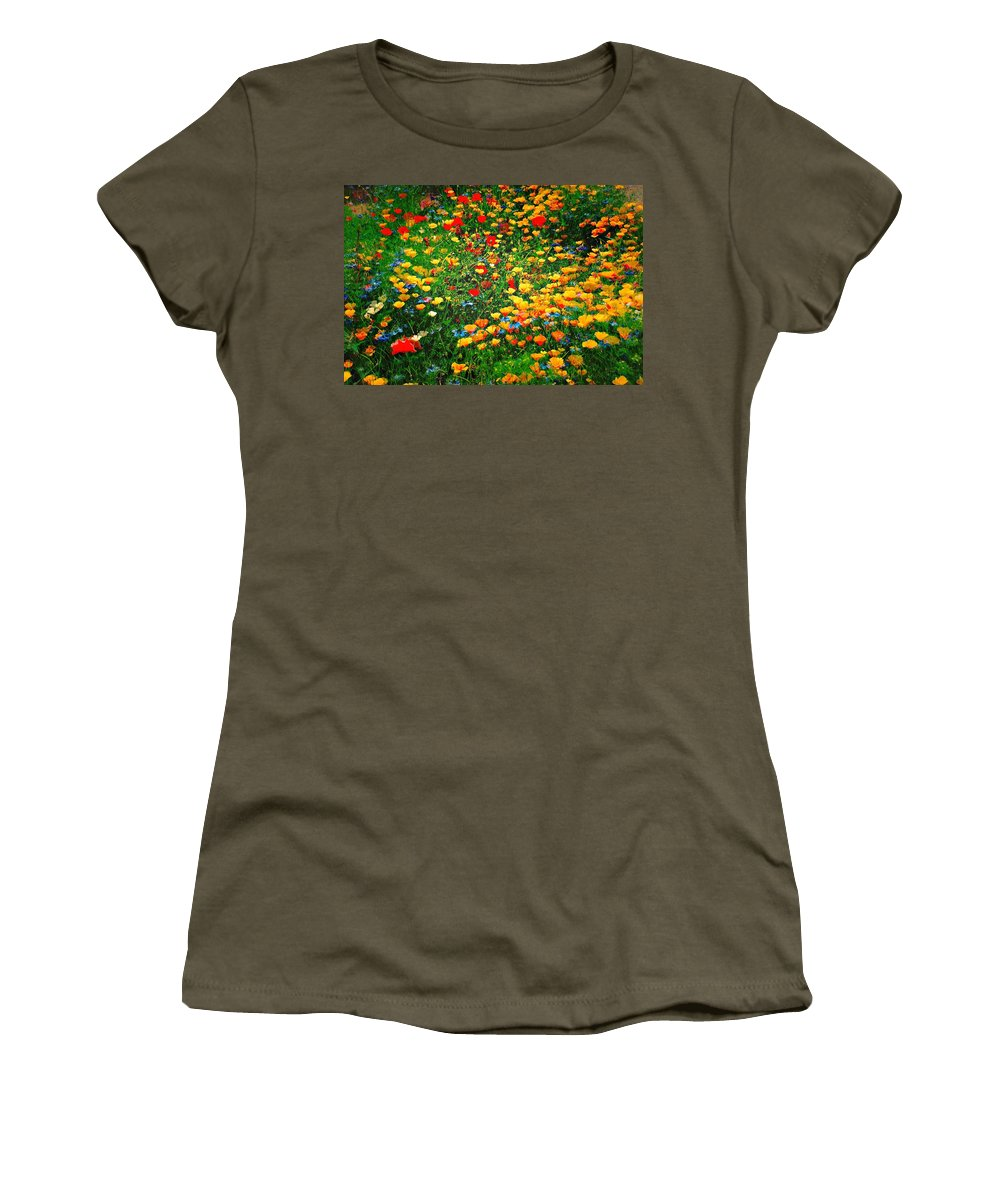 Poppies Women's T-Shirt featuring the photograph Poppy Petal Patch by David Coleman