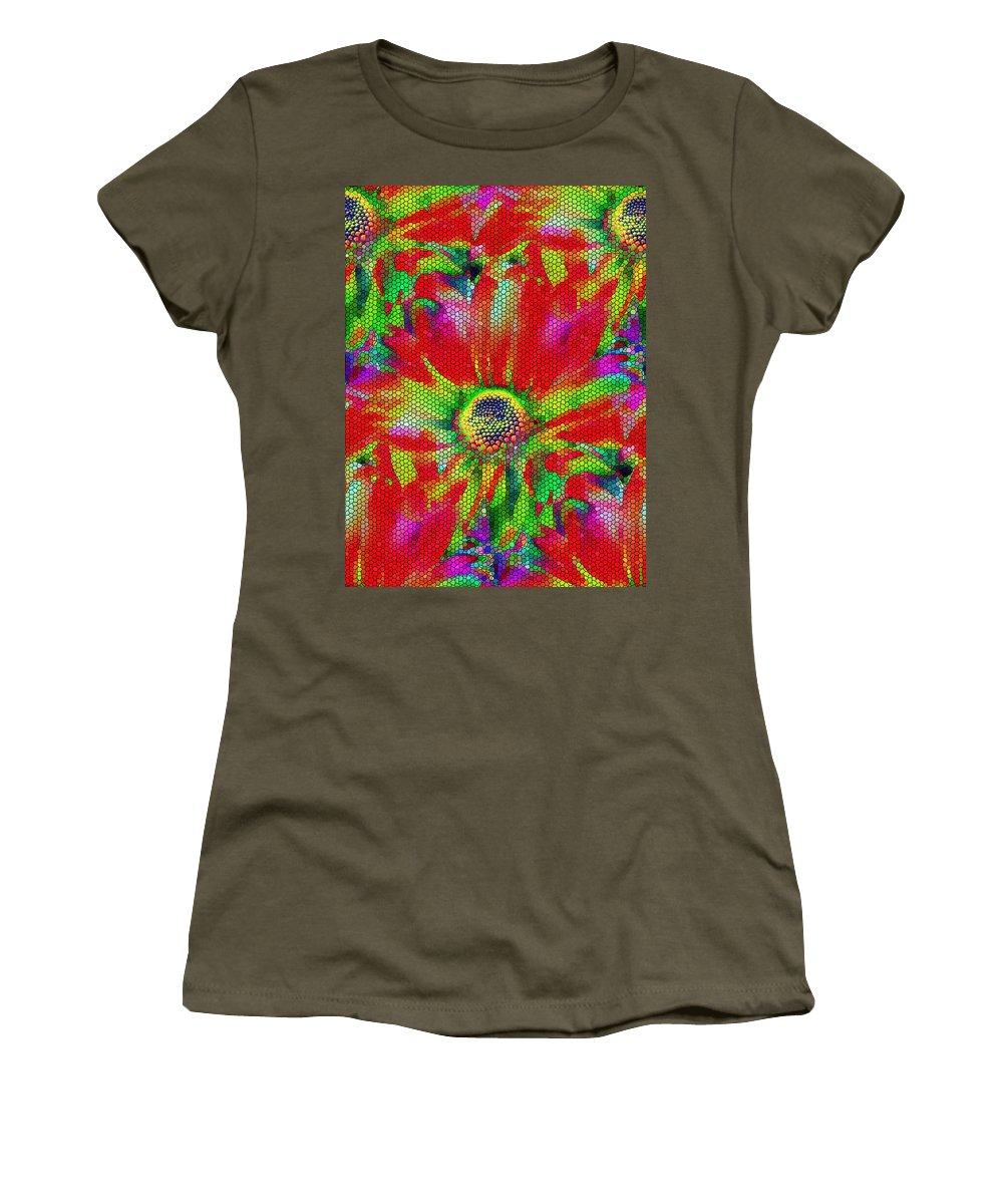 Abstract Women's T-Shirt featuring the photograph Petal Power by Tim Allen