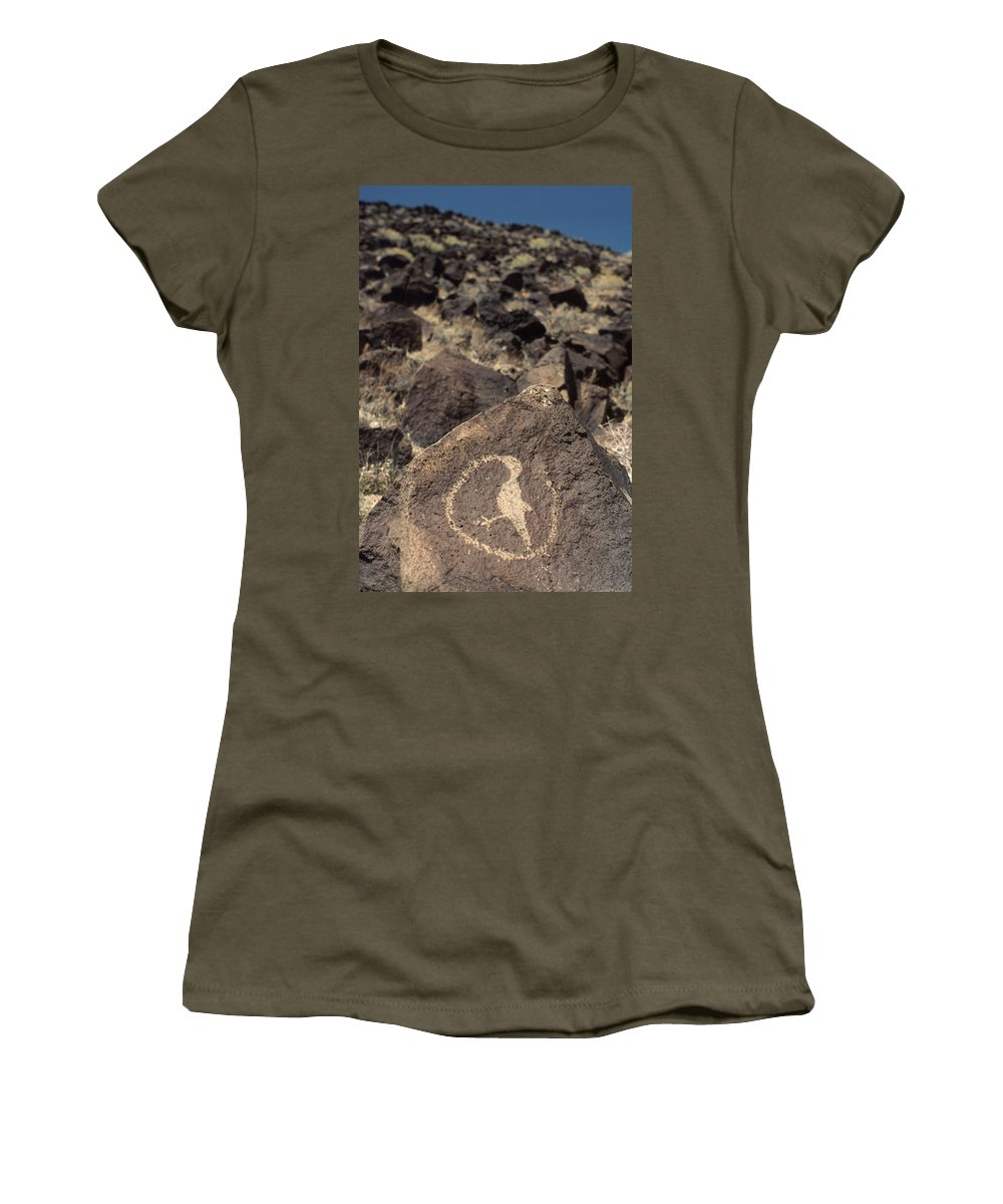 Petroglyph Women's T-Shirt (Athletic Fit) featuring the photograph Petroglyph by Jerry McElroy