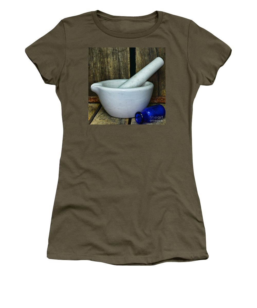 Paul Ward Women's T-Shirt (Athletic Fit) featuring the photograph Pharmacy - Mortar And Pestle - Square by Paul Ward