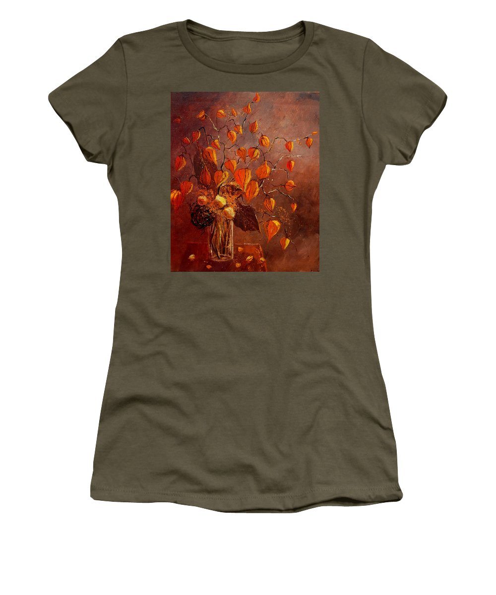 Poppies Women's T-Shirt (Athletic Fit) featuring the painting Physialis by Pol Ledent