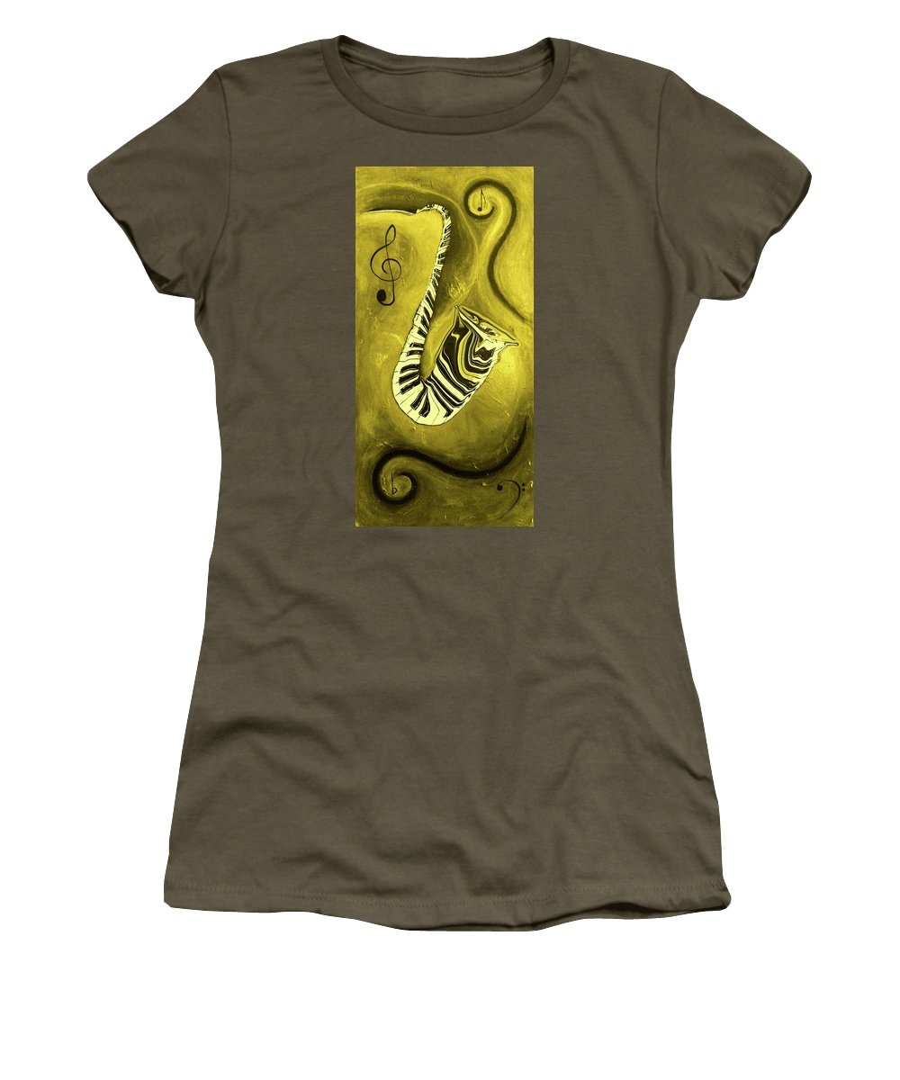 Piano Keys In A Saxophone Golden - Music In Motion Women's T-Shirt featuring the mixed media Piano Keys In A Saxophone Golden - Music In Motion by Wayne Cantrell