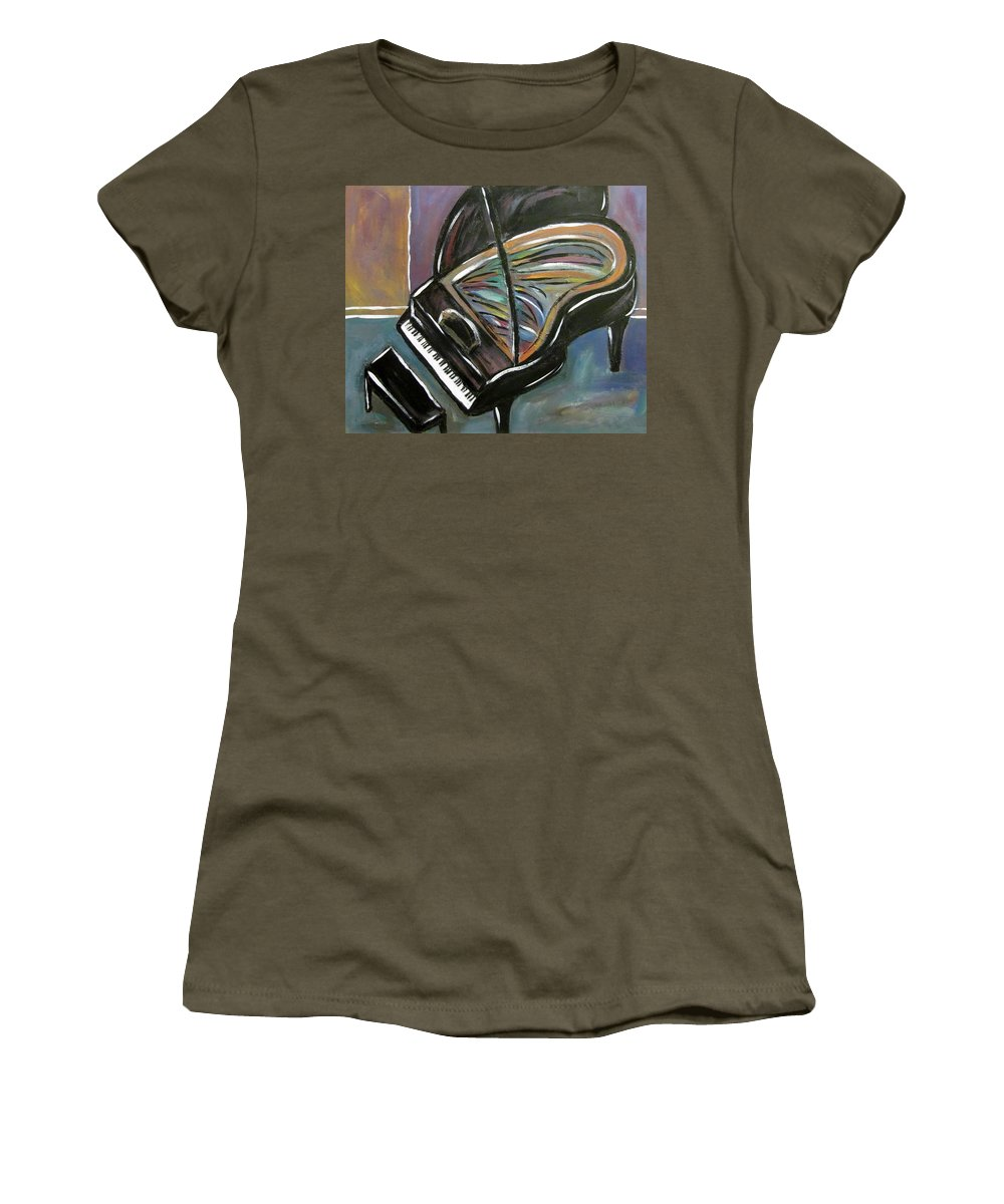 Impressionist Women's T-Shirt featuring the painting Piano With High Heel by Anita Burgermeister