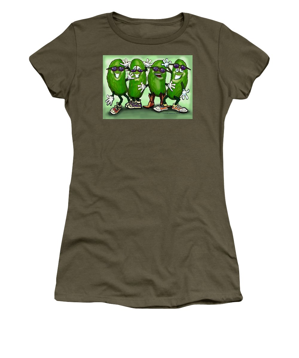 Pickle Women's T-Shirt featuring the digital art Pickle Party by Kevin Middleton