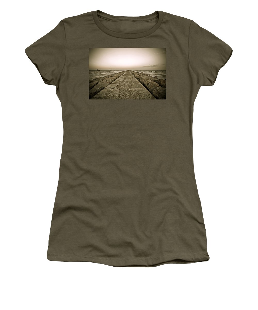 Water Women's T-Shirt (Athletic Fit) featuring the photograph Pier At Sunset by Marilyn Hunt