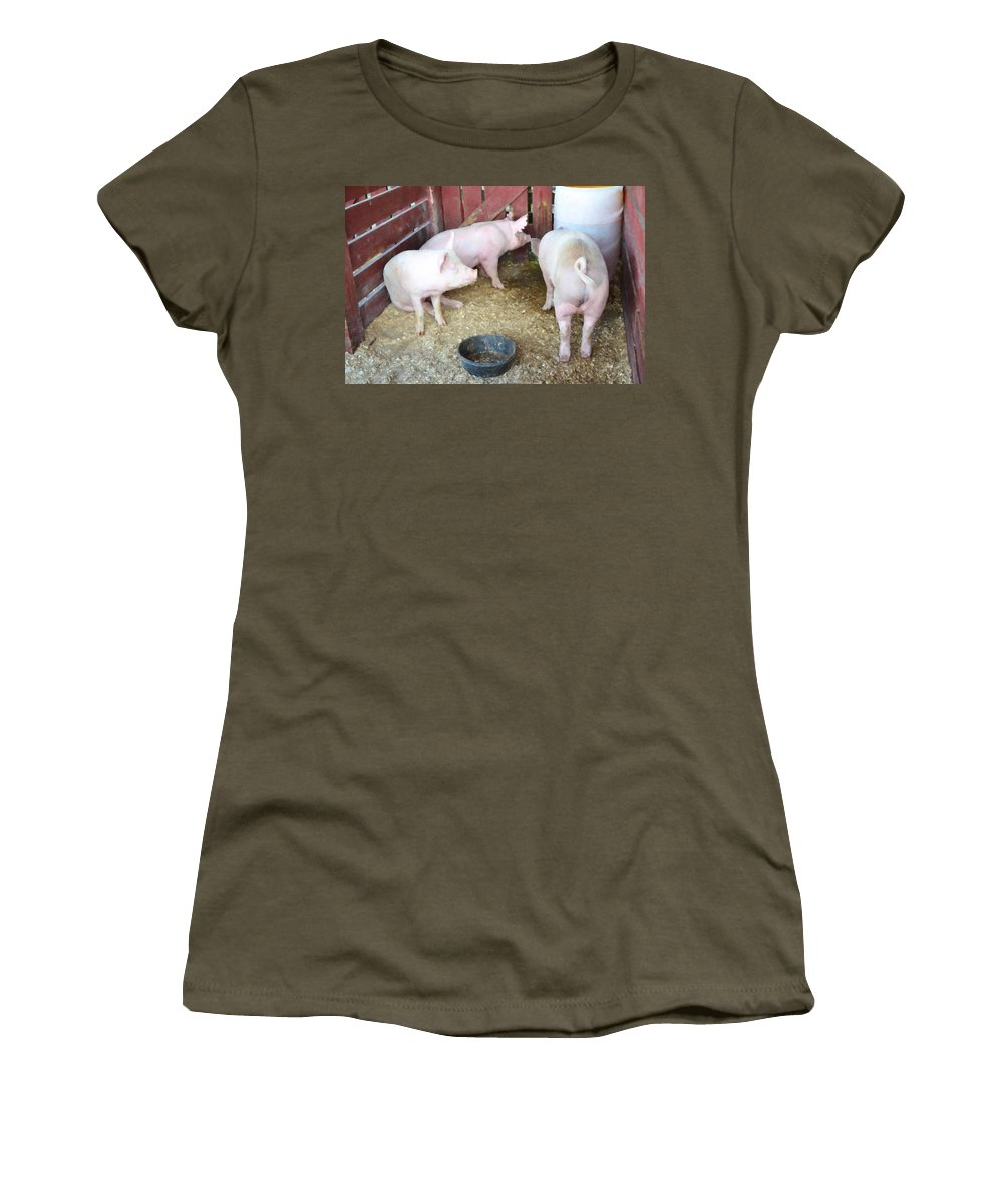 Pig Women's T-Shirt (Athletic Fit) featuring the painting Pig by Jeelan Clark