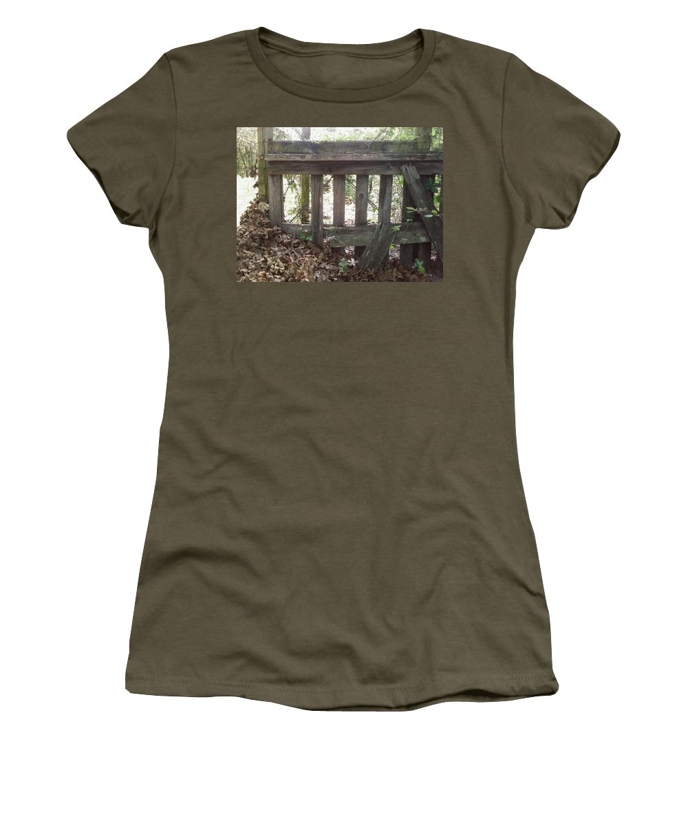 Leaves Fence Barn Wood Women's T-Shirt (Athletic Fit) featuring the photograph Piles Of A Season Past.. by Cindy New