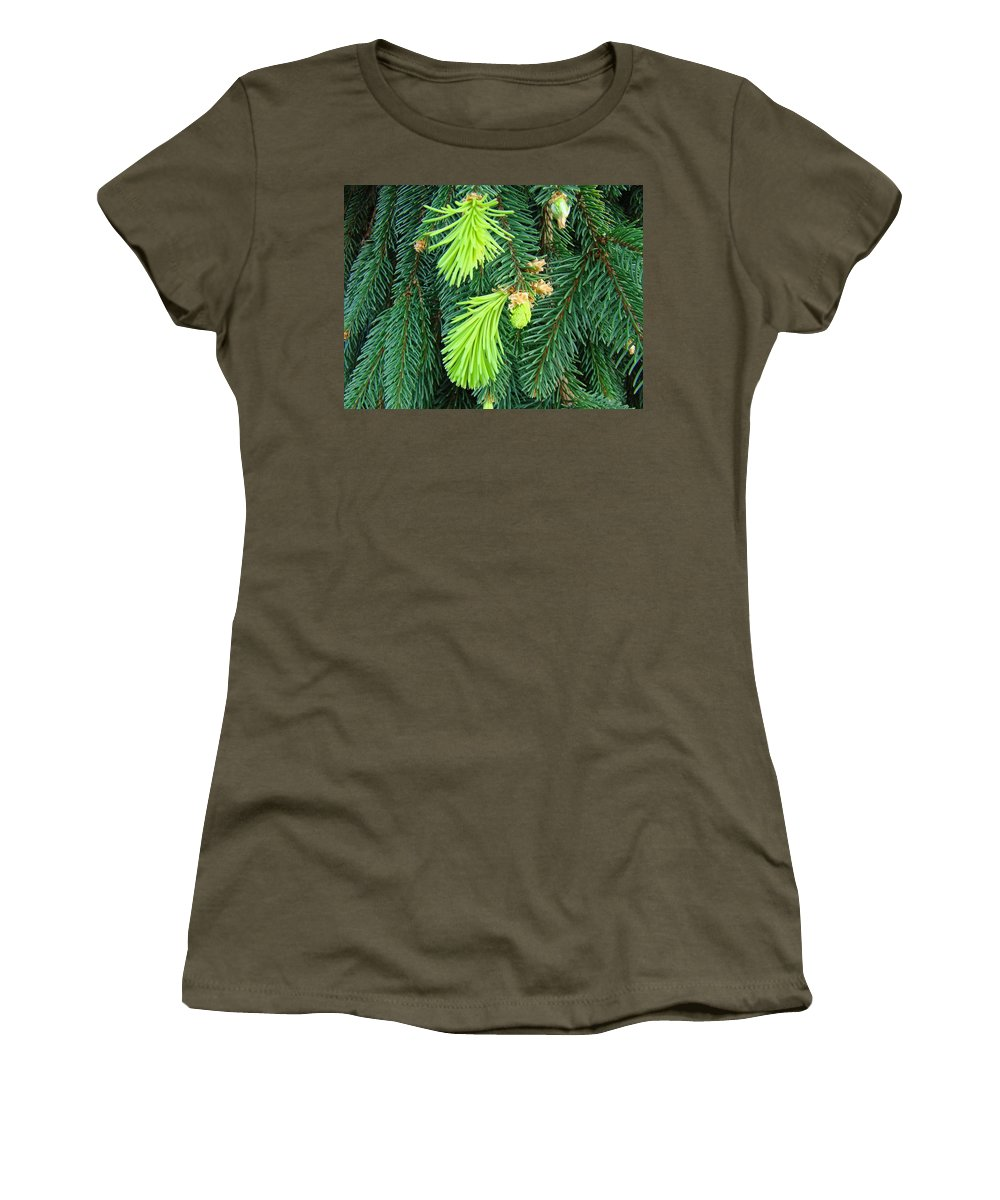 Pine Women's T-Shirt featuring the photograph Pine Tree Branches Art Prints Conifer Forest Baslee Troutman by Baslee Troutman