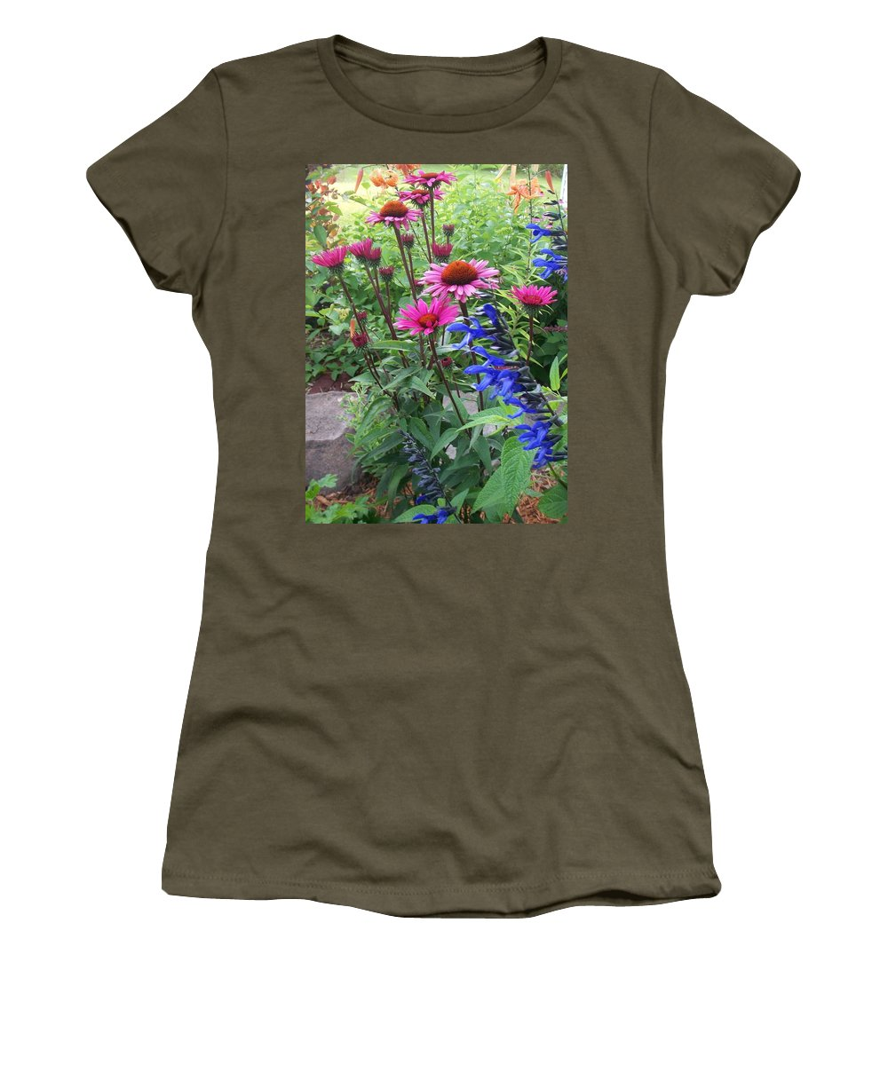 Flowers Women's T-Shirt (Athletic Fit) featuring the photograph Pink All Over Plus Purple by Anita Burgermeister