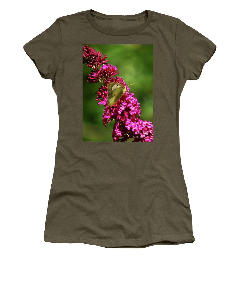 Moth Women's T-Shirt featuring the photograph Pink And Green by Lori Tambakis
