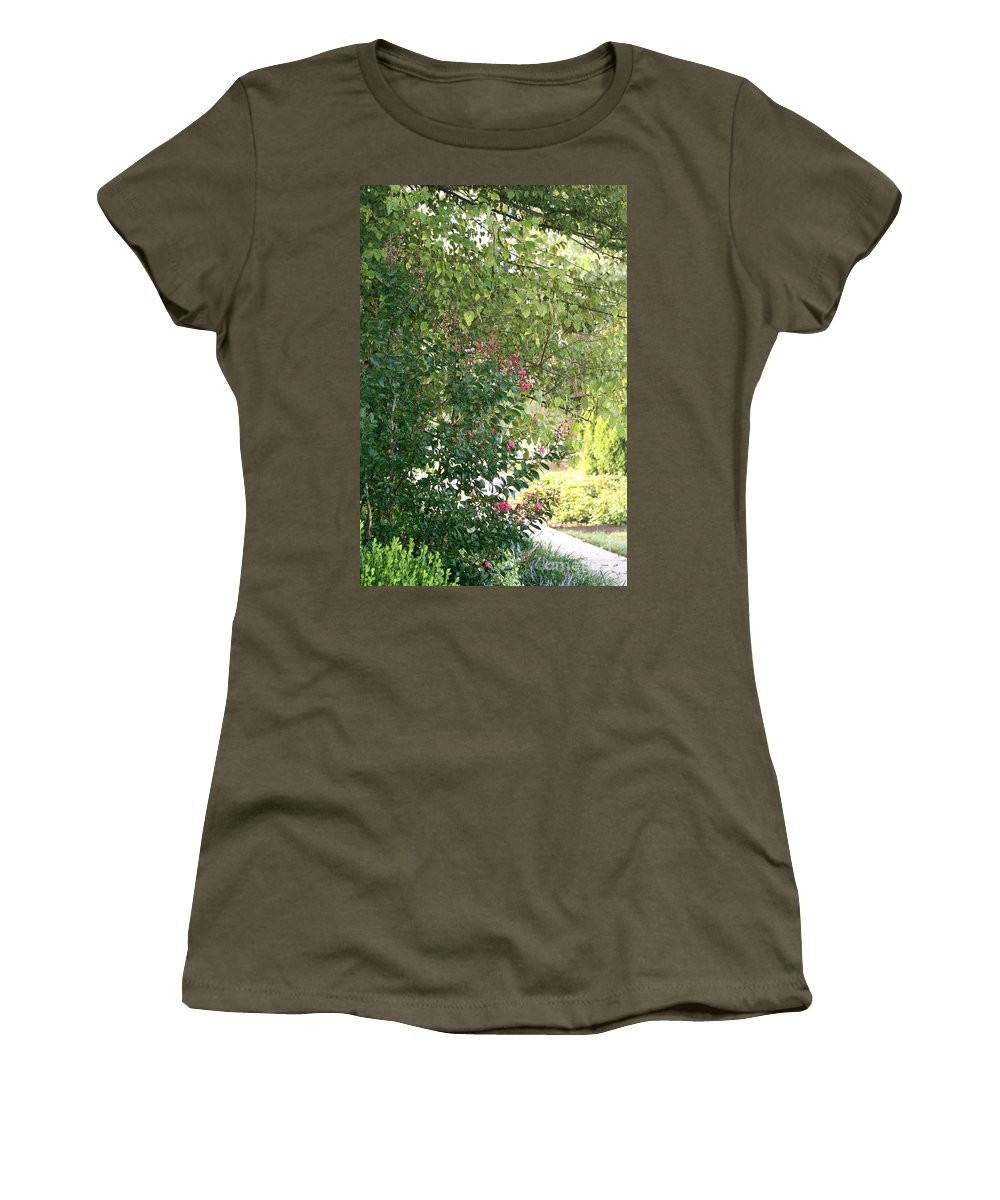 Path Women's T-Shirt (Athletic Fit) featuring the photograph Pink And Green Path by Nadine Rippelmeyer