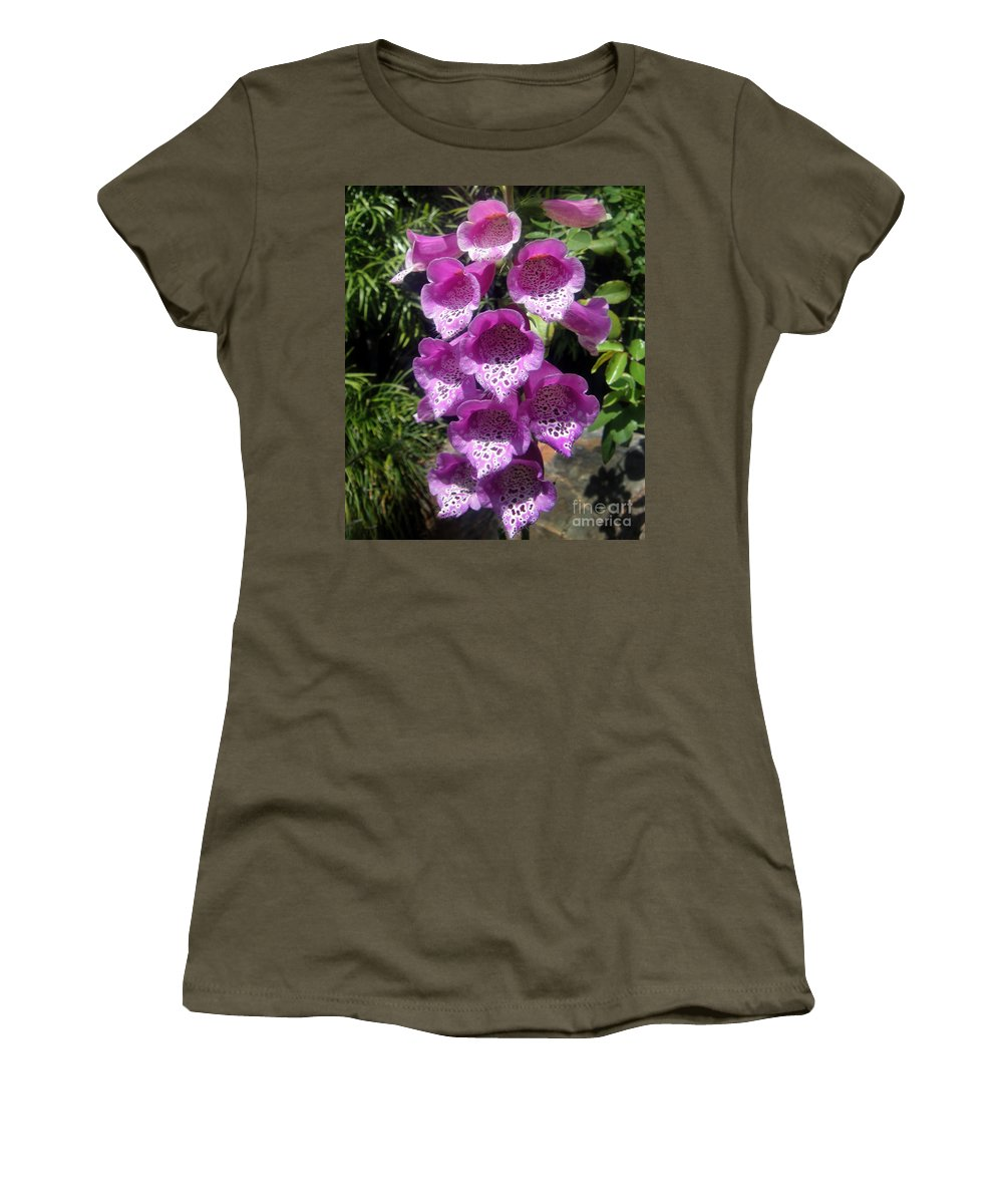 Pink Bell Flowers Women's T-Shirt featuring the photograph Pink Bell Flowers, Close-up. Foxglove 02 by Sofia Metal Queen