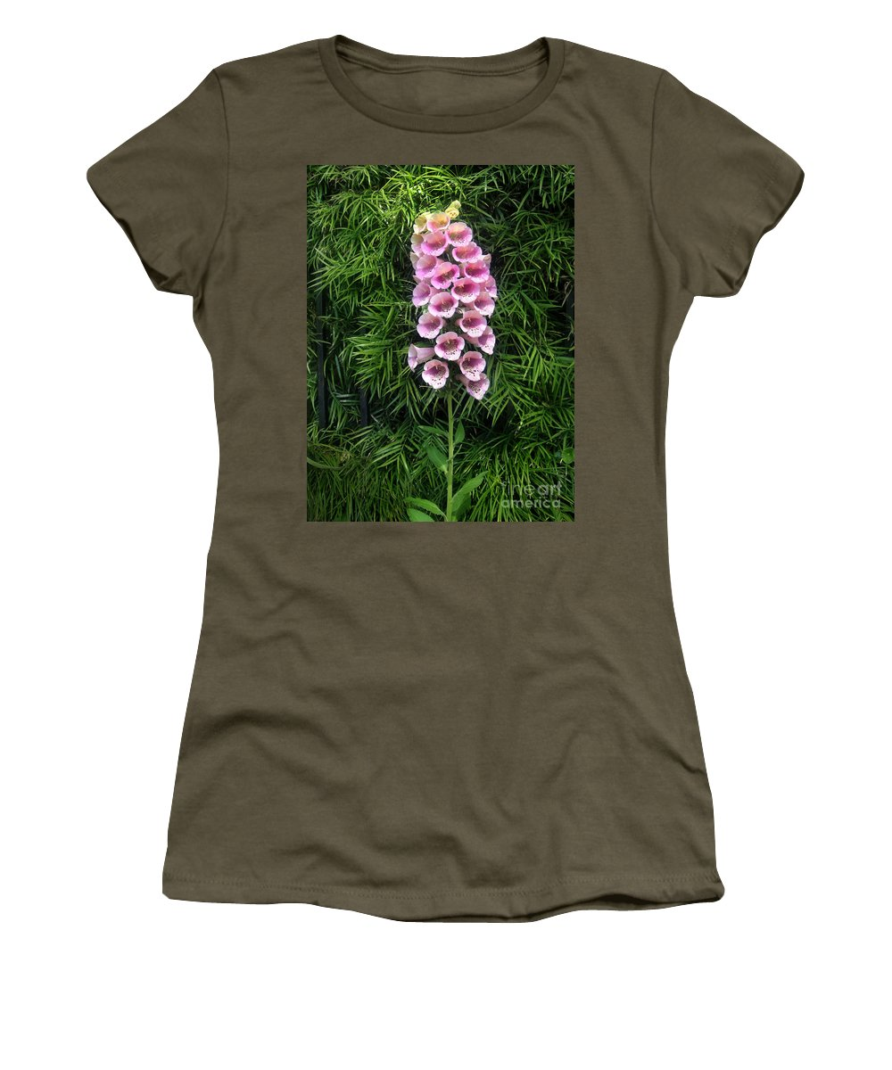 Pink Bell Flowers Women's T-Shirt featuring the photograph Pink Bell Flowers. Foxglove 02 by Sofia Metal Queen