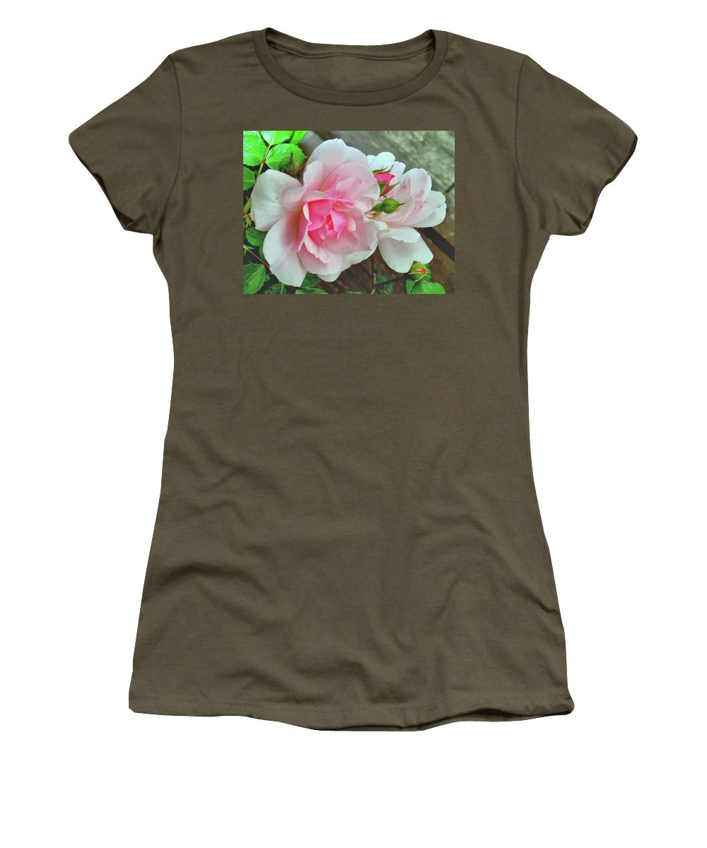 Pink Rose Photograph Women's T-Shirt featuring the photograph Pink Cluster Of Roses by Janette Boyd