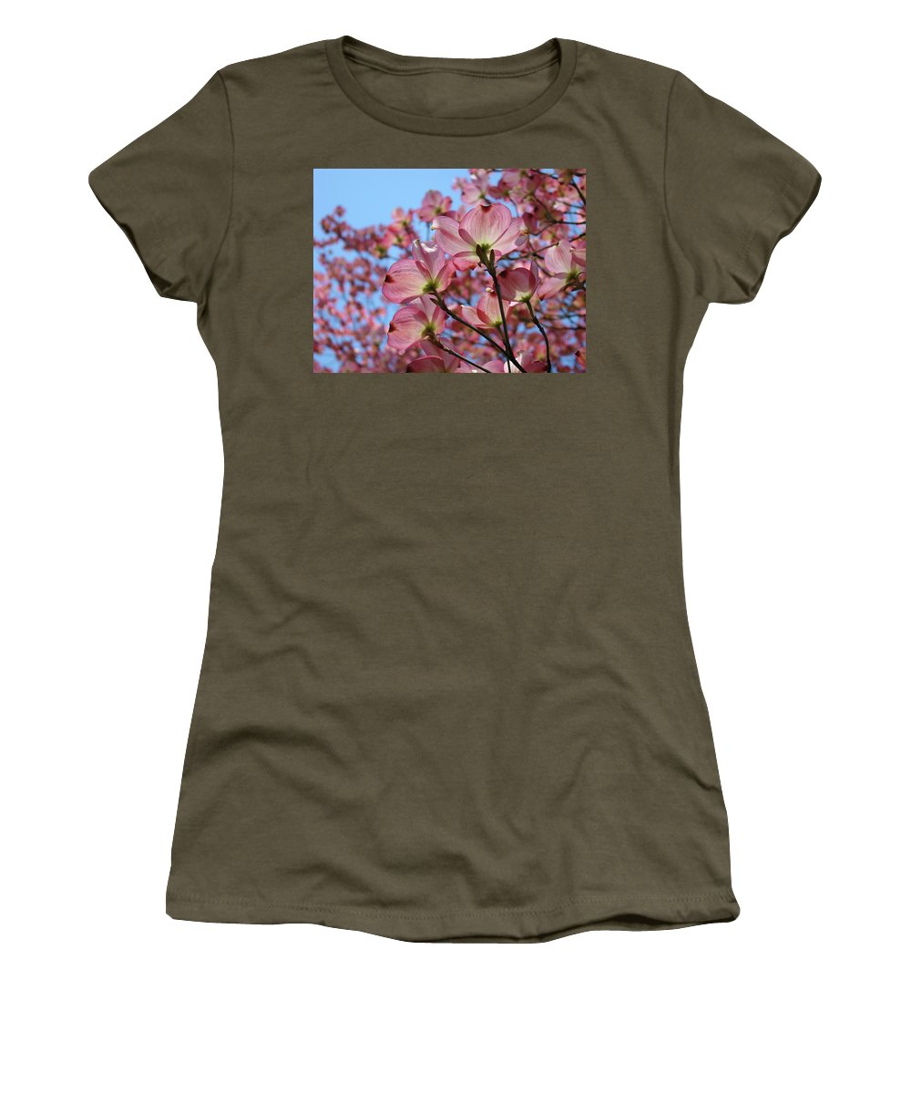 Dogwood Women's T-Shirt (Athletic Fit) featuring the photograph Pink Dogwood Flowers Landscape 11 Blue Sky Botanical Artwork Baslee Troutman by Baslee Troutman