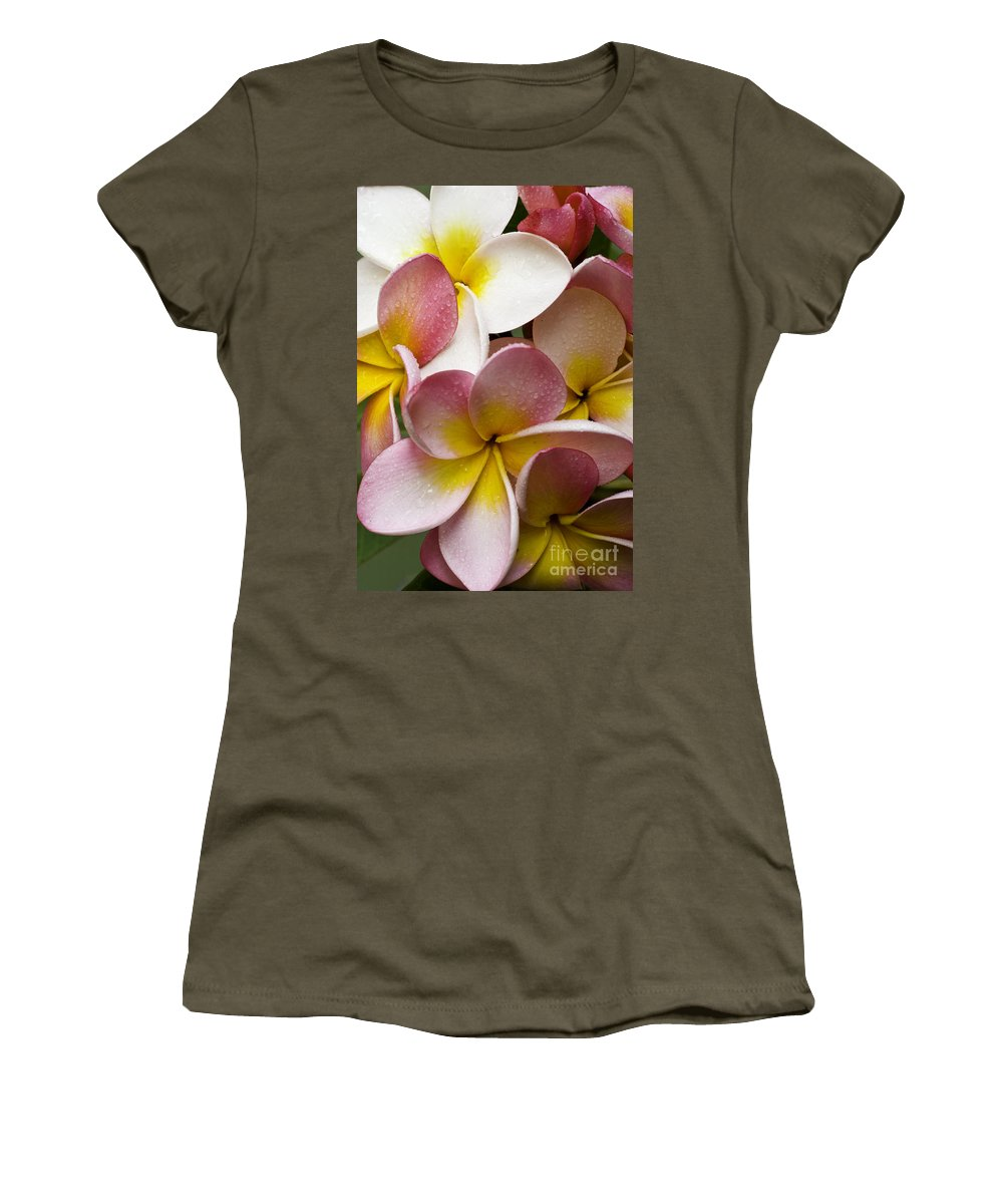 Pink Frangipani Women's T-Shirt (Athletic Fit) featuring the photograph Pink Frangipani by Sheila Smart Fine Art Photography