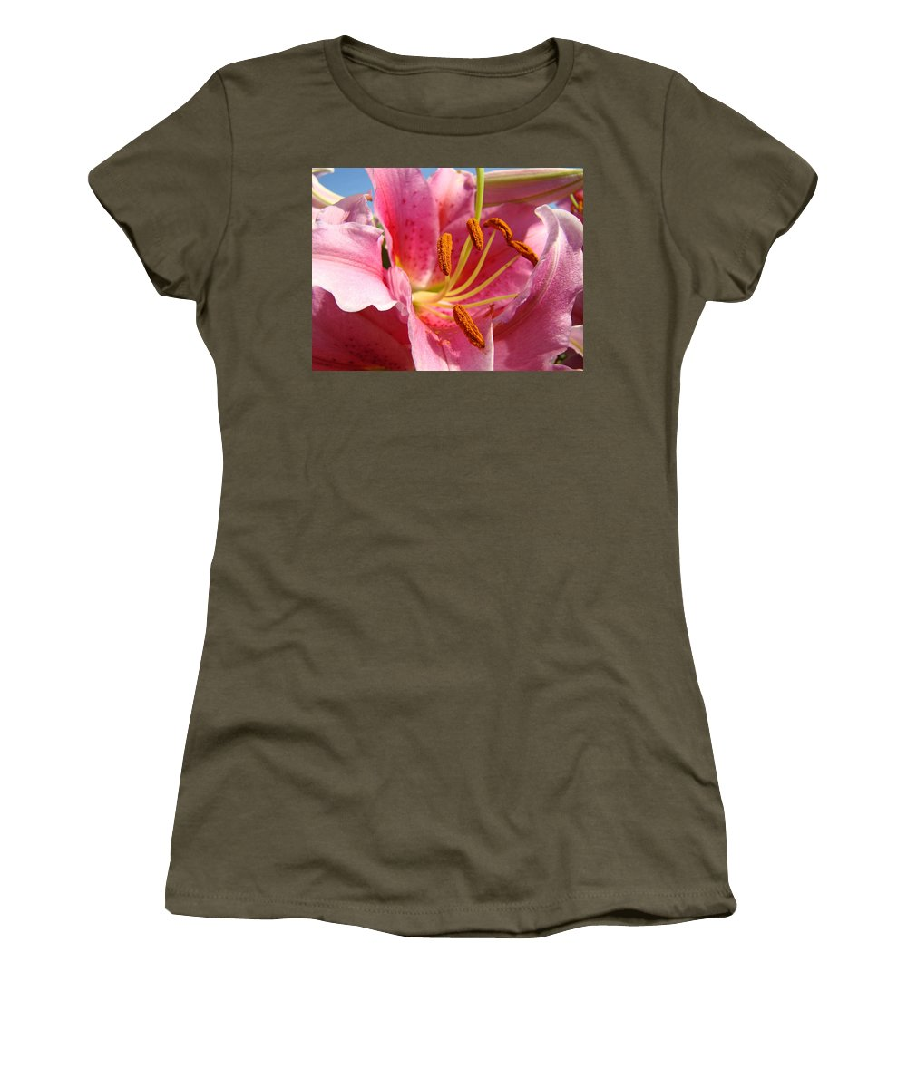 Lilies Women's T-Shirt featuring the photograph Pink Lilies Art Prints Lily Flowers 3 Giclee Artwork Baslee Troutman by Baslee Troutman