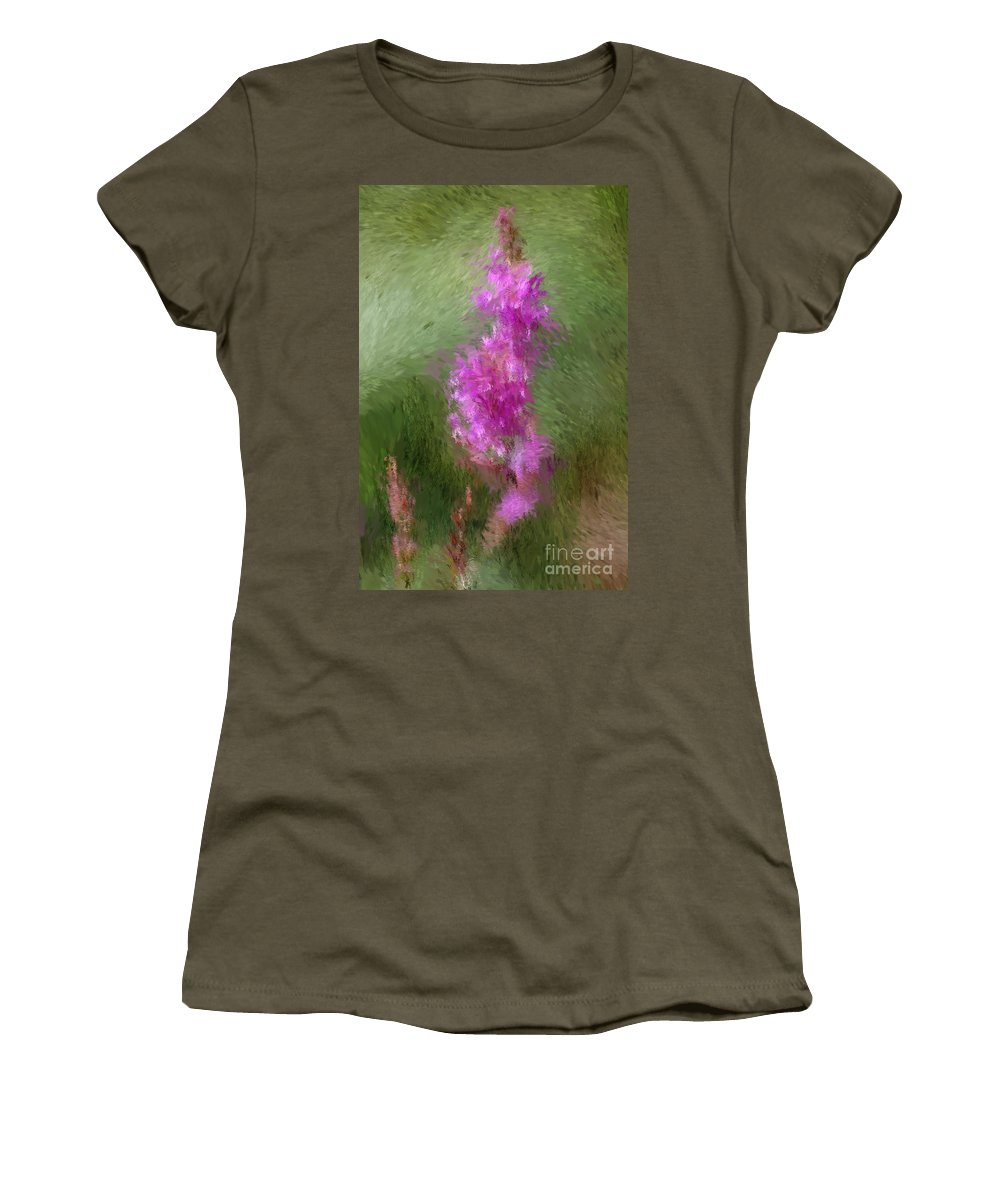Abstract Women's T-Shirt (Athletic Fit) featuring the digital art Pink Nature Abstract by David Lane
