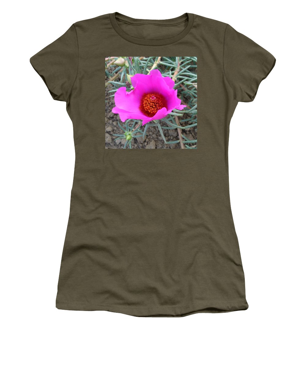 Flower Women's T-Shirt (Athletic Fit) featuring the photograph Pink Or Wot by Susan Baker
