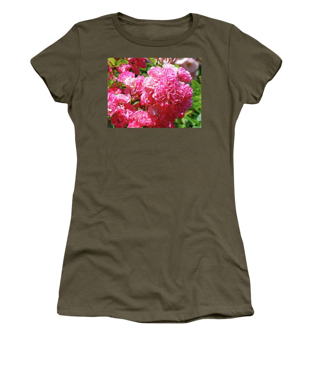 Rose Women's T-Shirt (Athletic Fit) featuring the photograph Pink Roses Summer Rose Garden Roses Giclee Art Prints Baslee Troutman by Baslee Troutman