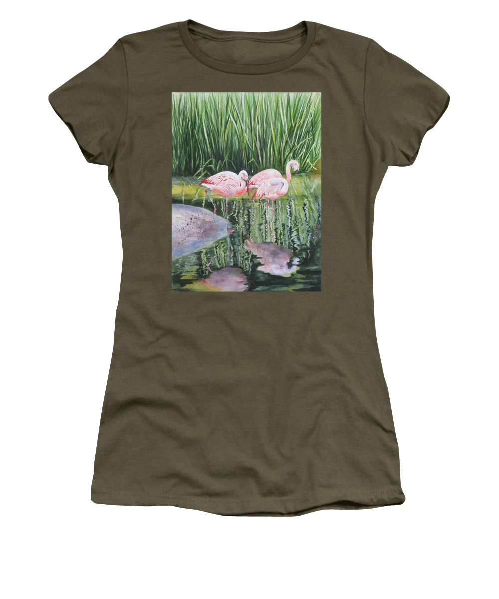 Flamingos Women's T-Shirt featuring the painting Pink Trio by Mary McCullah