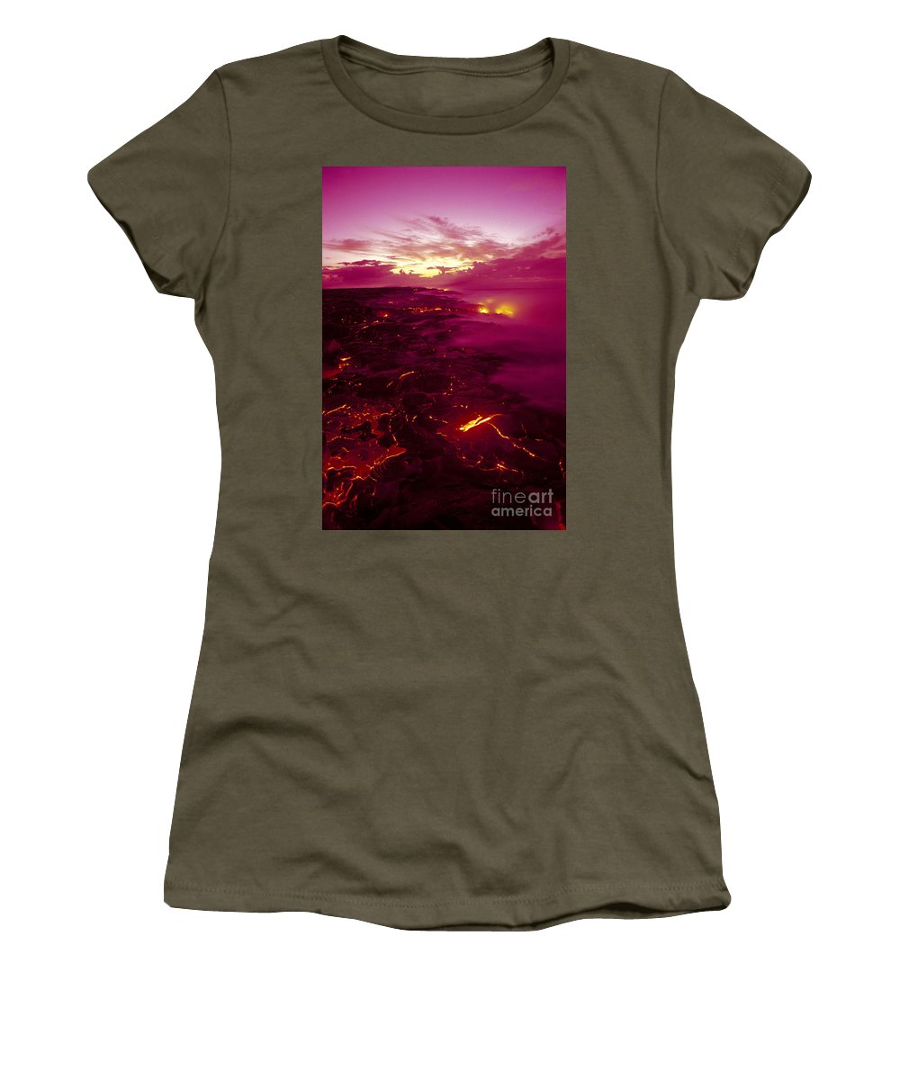 2003va Earlier Women's T-Shirt featuring the photograph Pink Volcano Sunrise by Ron Dahlquist - Printscapes