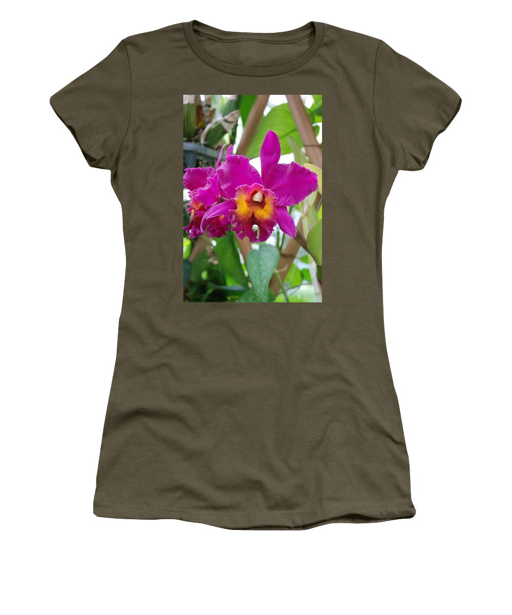 Macro Women's T-Shirt (Athletic Fit) featuring the photograph Pinkishyellow Orchid by Rob Hans