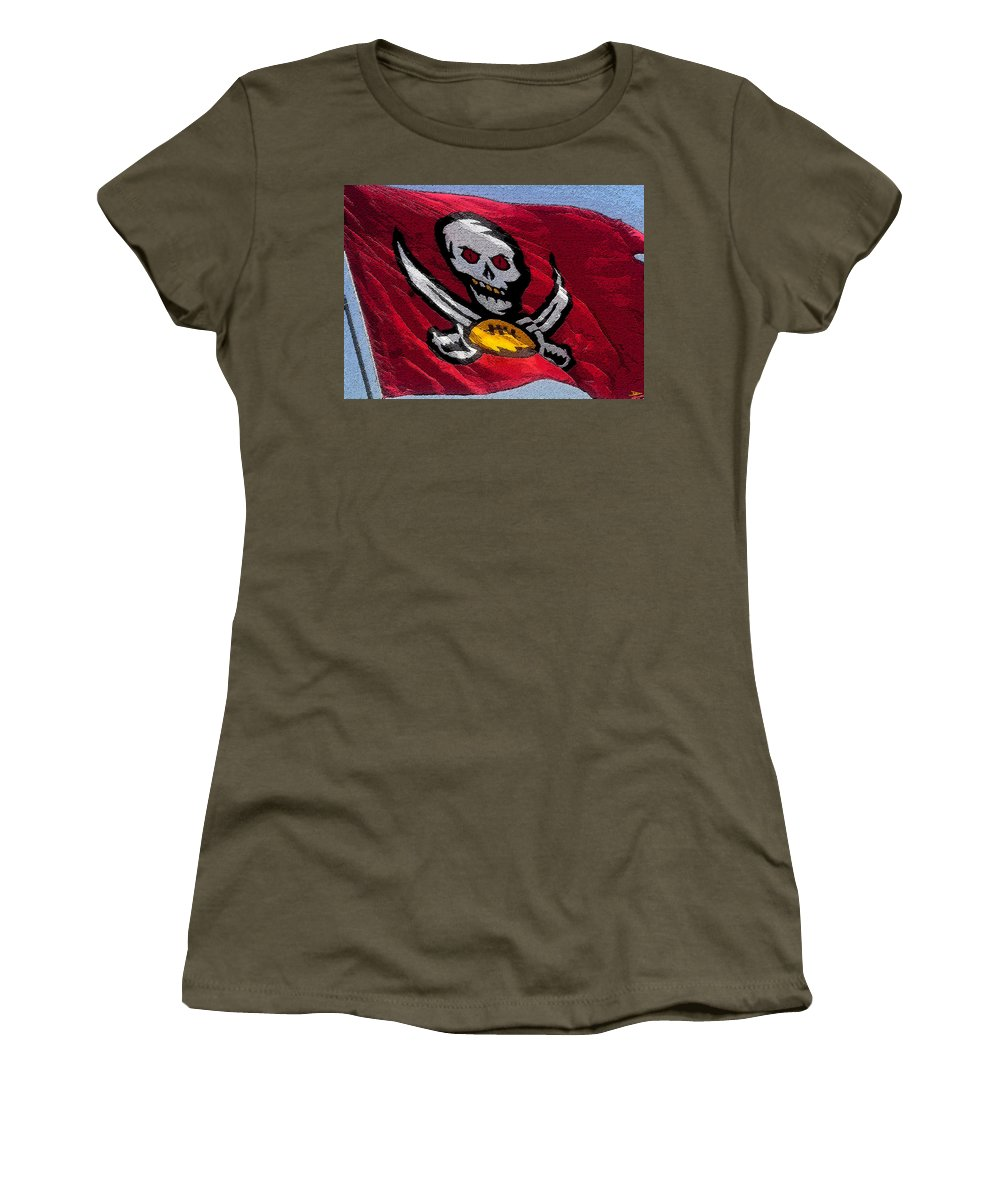 Art Women's T-Shirt featuring the painting Pirate Football by David Lee Thompson