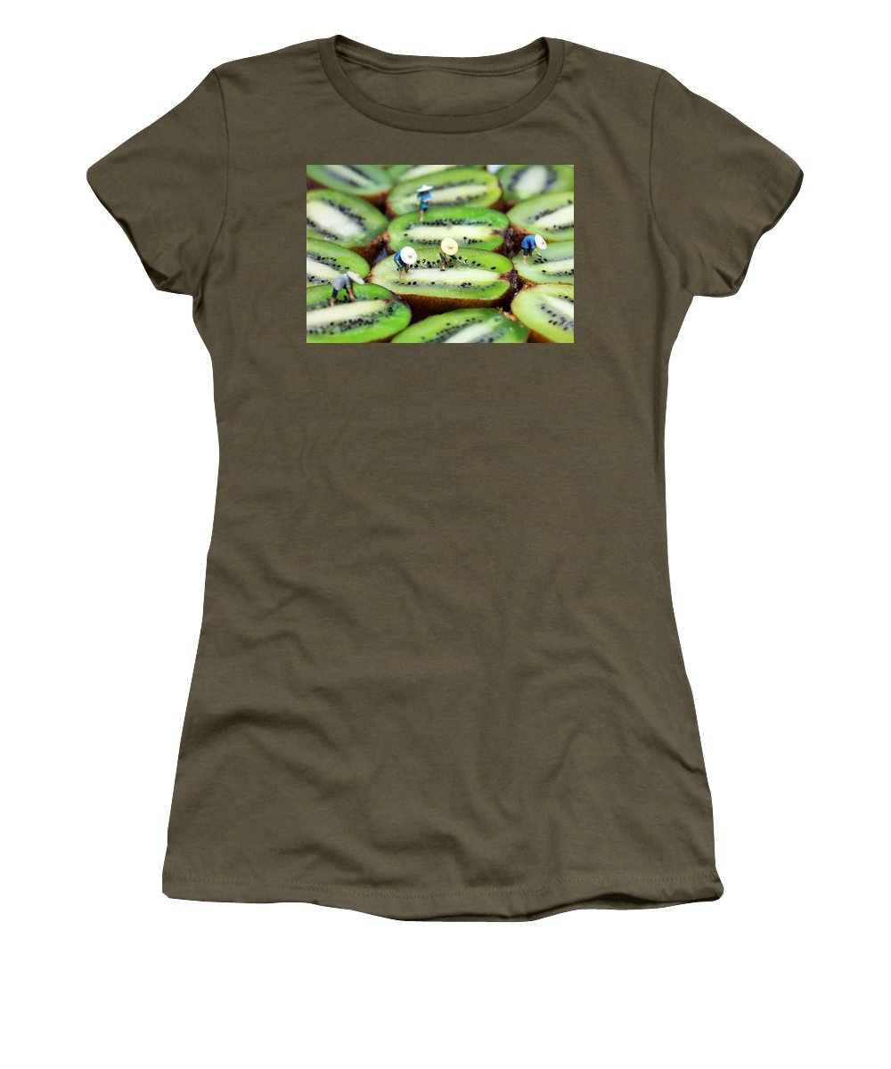 Plant Women's T-Shirt featuring the photograph Planting Rice On Kiwifruit by Paul Ge