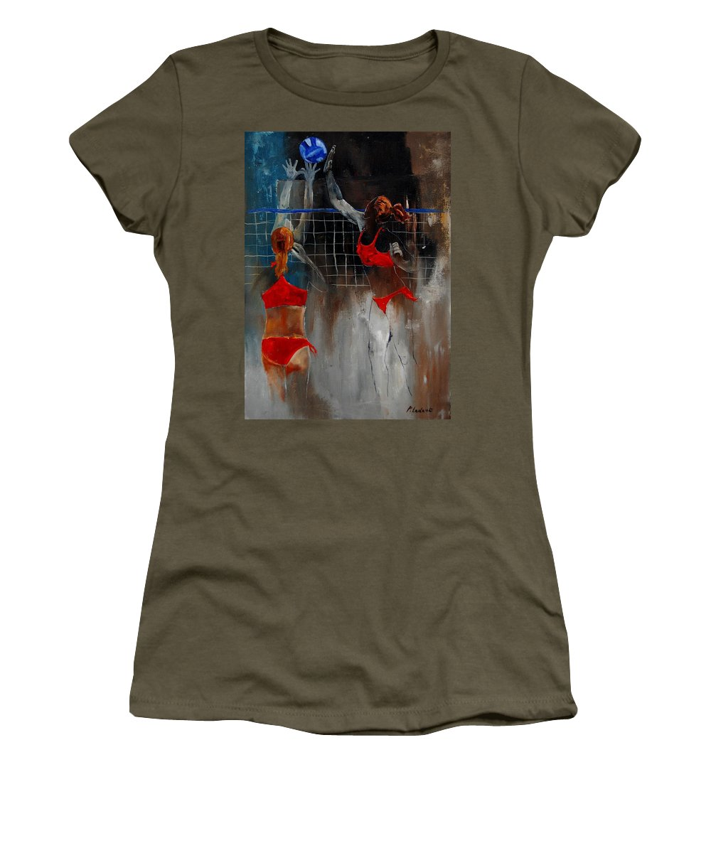 Sport Women's T-Shirt (Athletic Fit) featuring the painting Playing Volley by Pol Ledent