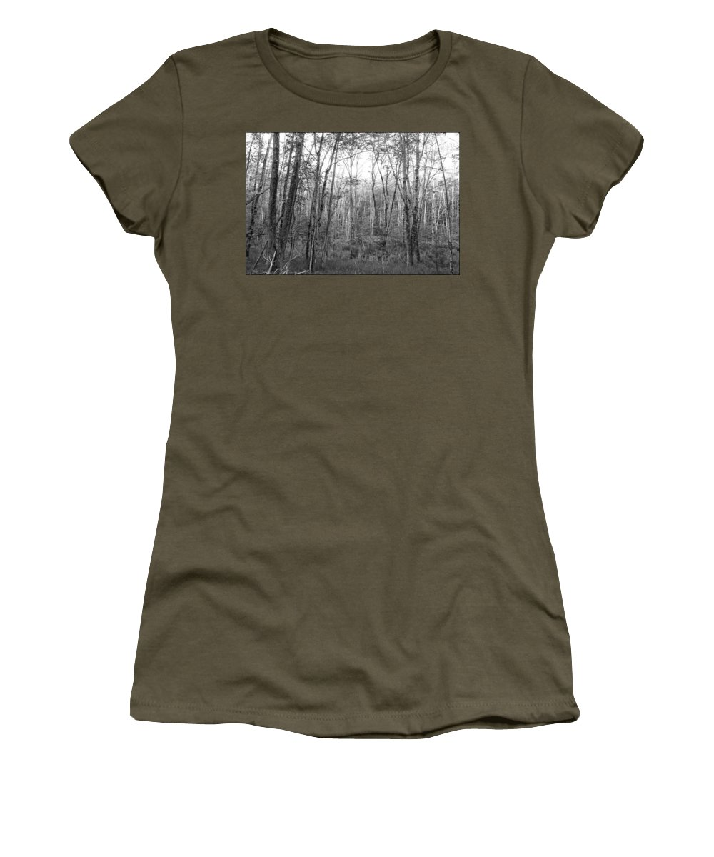 Woods Women's T-Shirt featuring the photograph Pleasure Of Pathless Woods Bw by Belinda Greb