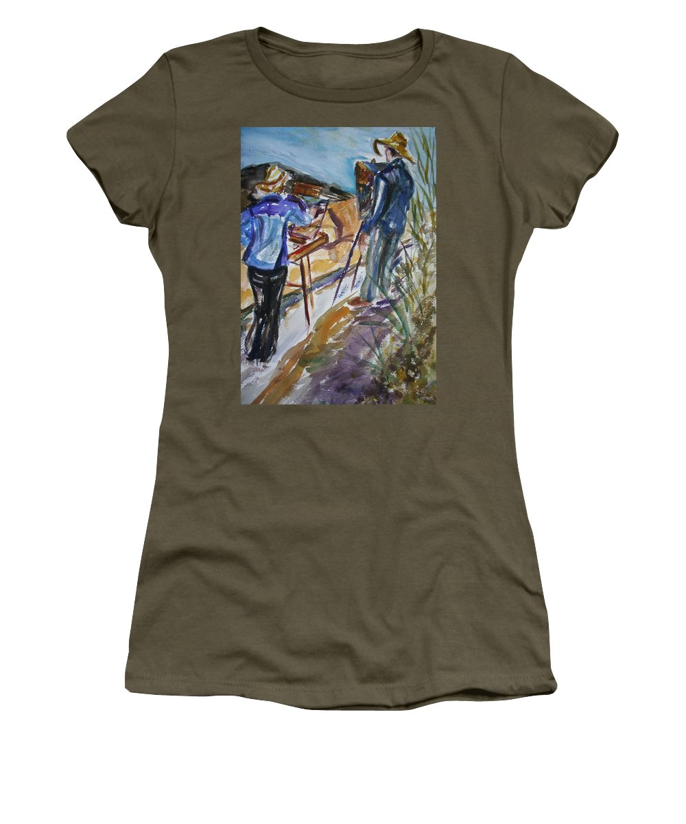 Impressionist Women's T-Shirt featuring the painting Plein Air Painters - Original Watercolor by Quin Sweetman