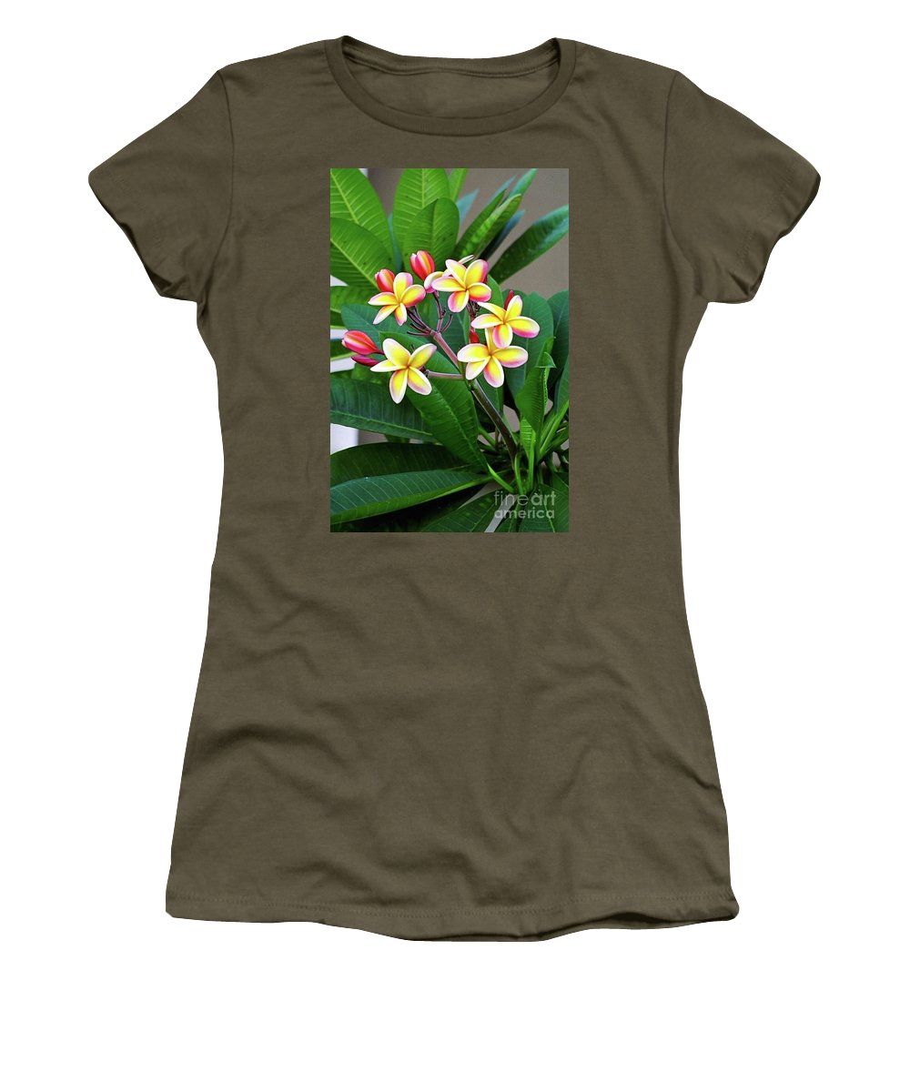 Plumeria Flowers Women's T-Shirt (Athletic Fit) featuring the photograph Plumeria Flowers 5 by Gregory E Dean