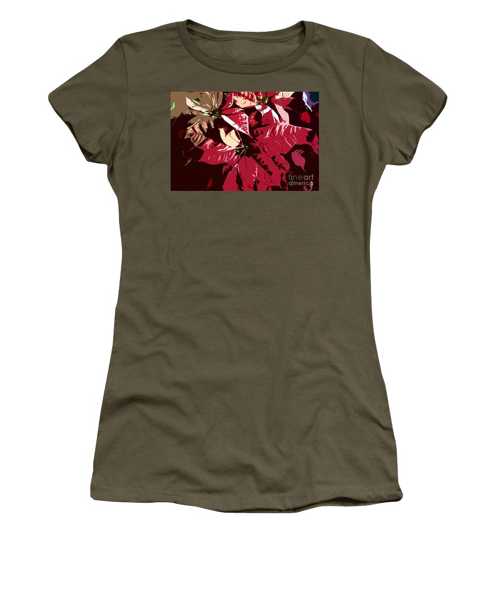 Poinsettias Women's T-Shirt (Athletic Fit) featuring the photograph Poinsettia's Work Number 7 by David Lee Thompson