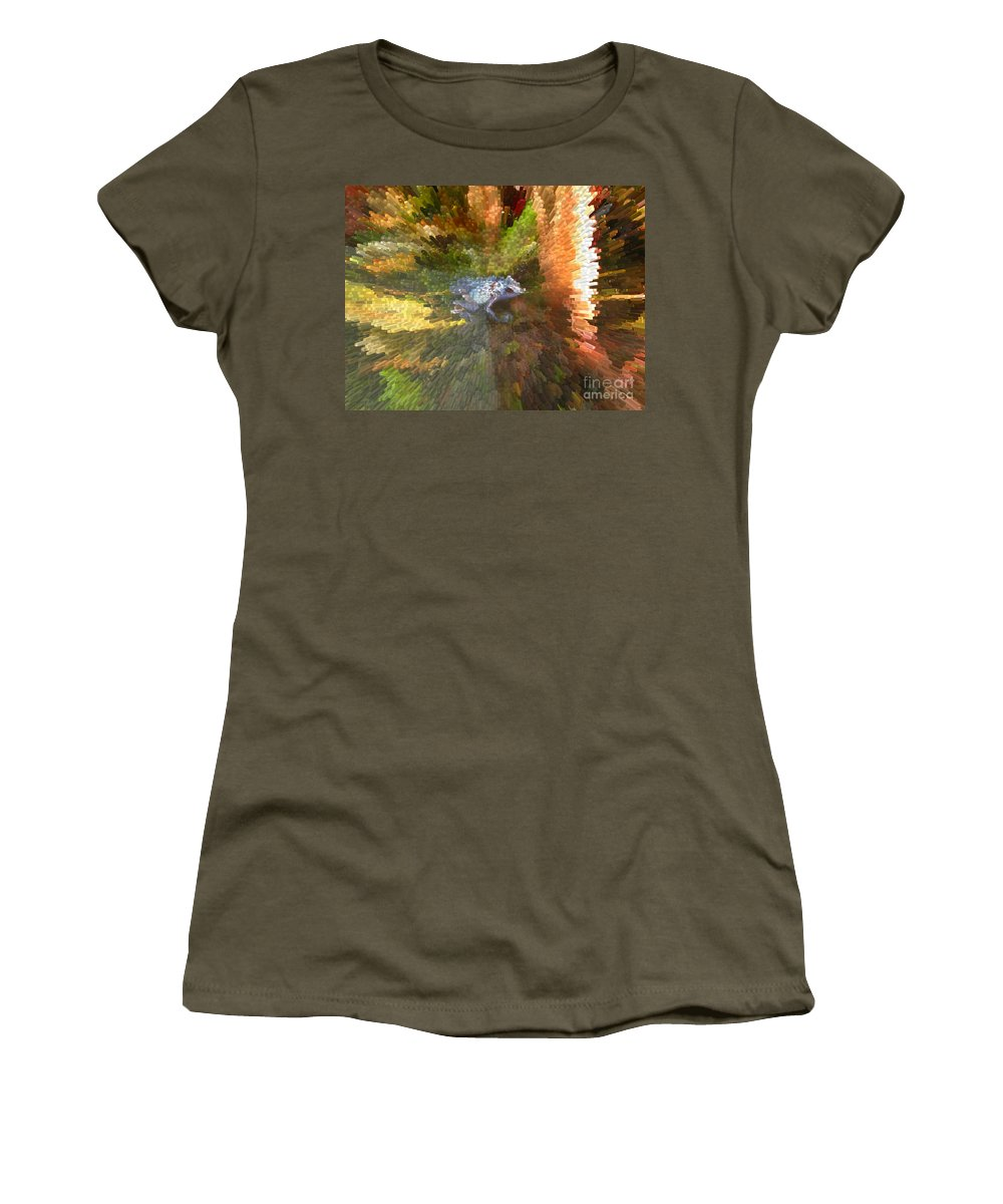 Frog. Blue Women's T-Shirt featuring the digital art Poison Blue Dart Frog by Donna Brown