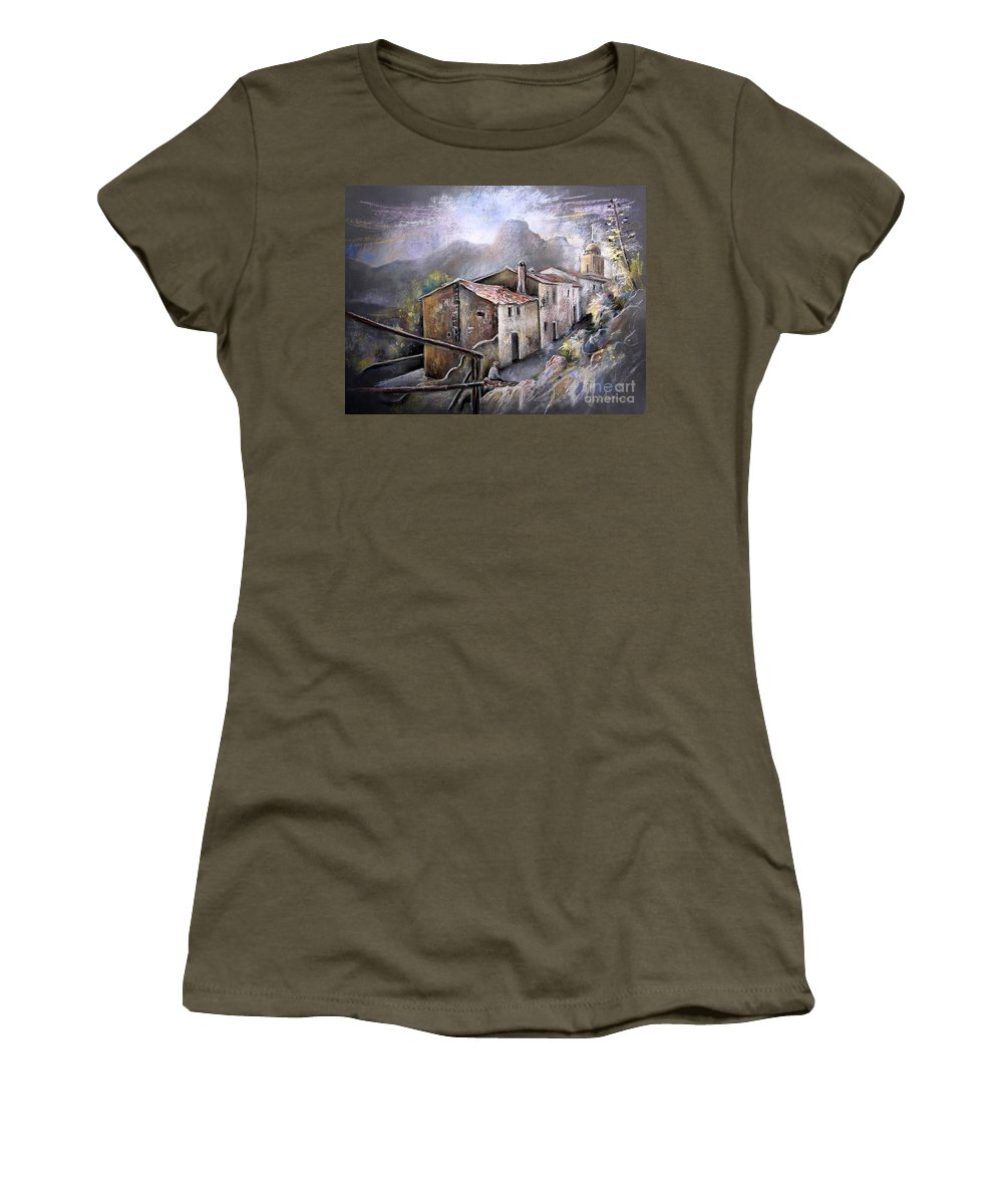 Pastel Painting Women's T-Shirt featuring the painting Polop De La Marina 03 by Miki De Goodaboom