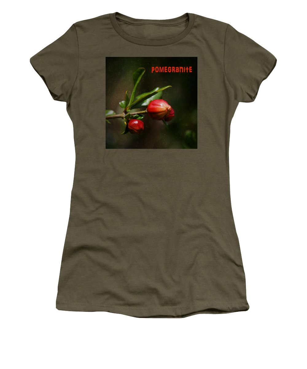Pomegranite Women's T-Shirt featuring the photograph Pomegranite Art by Mary Bellew